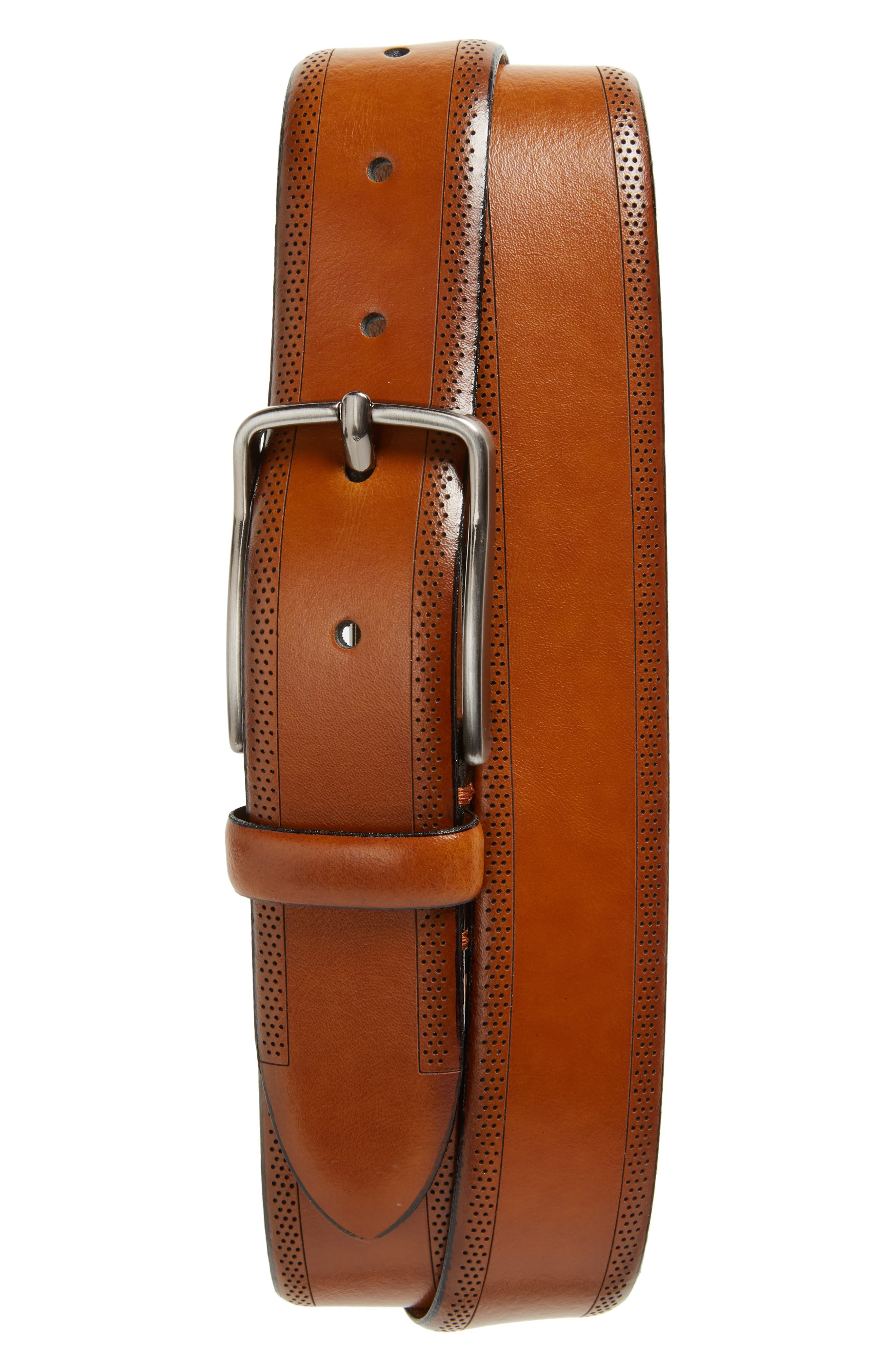 Perforated Leather Belt,                             Main thumbnail 1, color,                             Tan