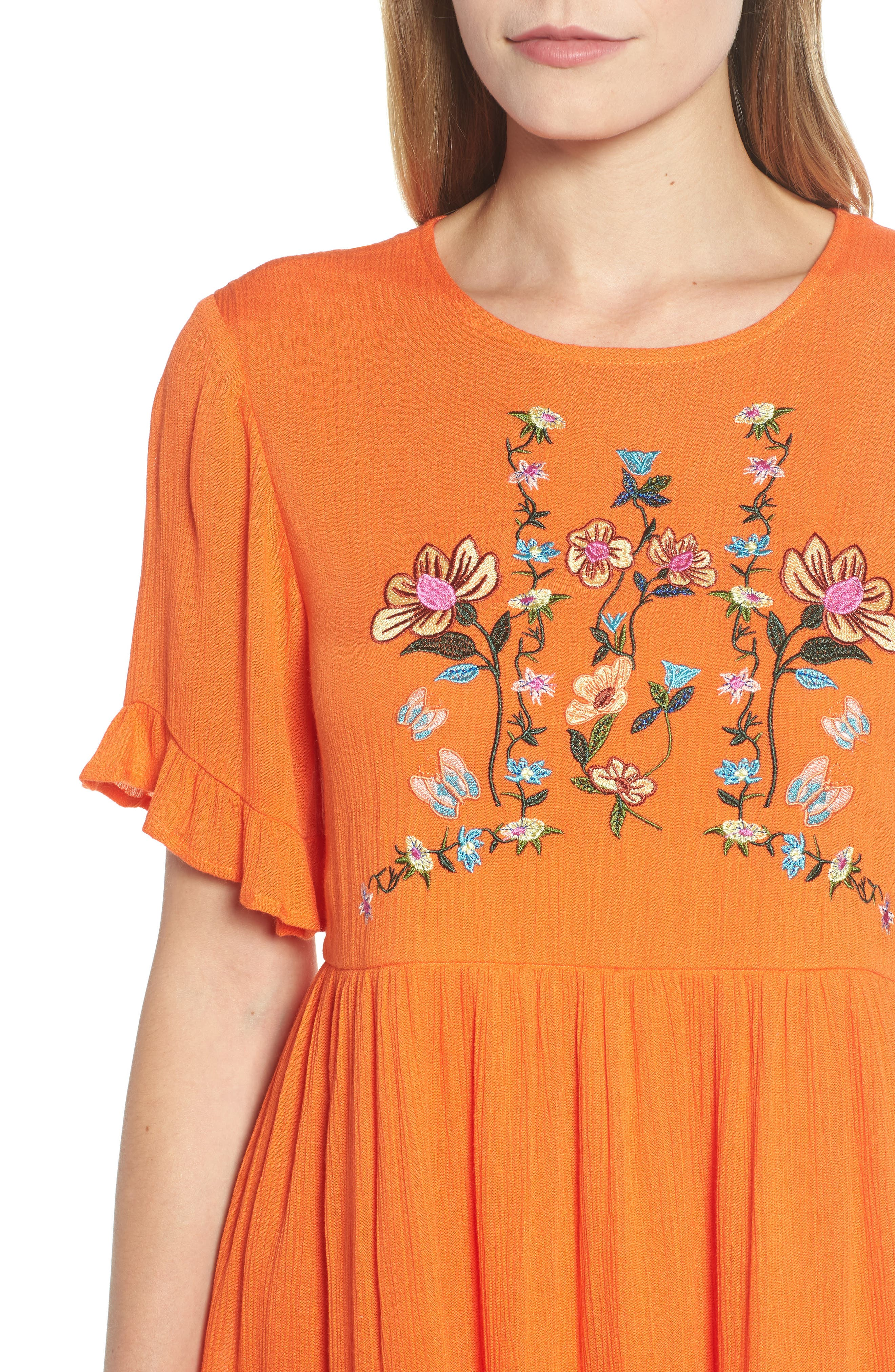 Embroidered Dress,                             Alternate thumbnail 4, color,                             Orange