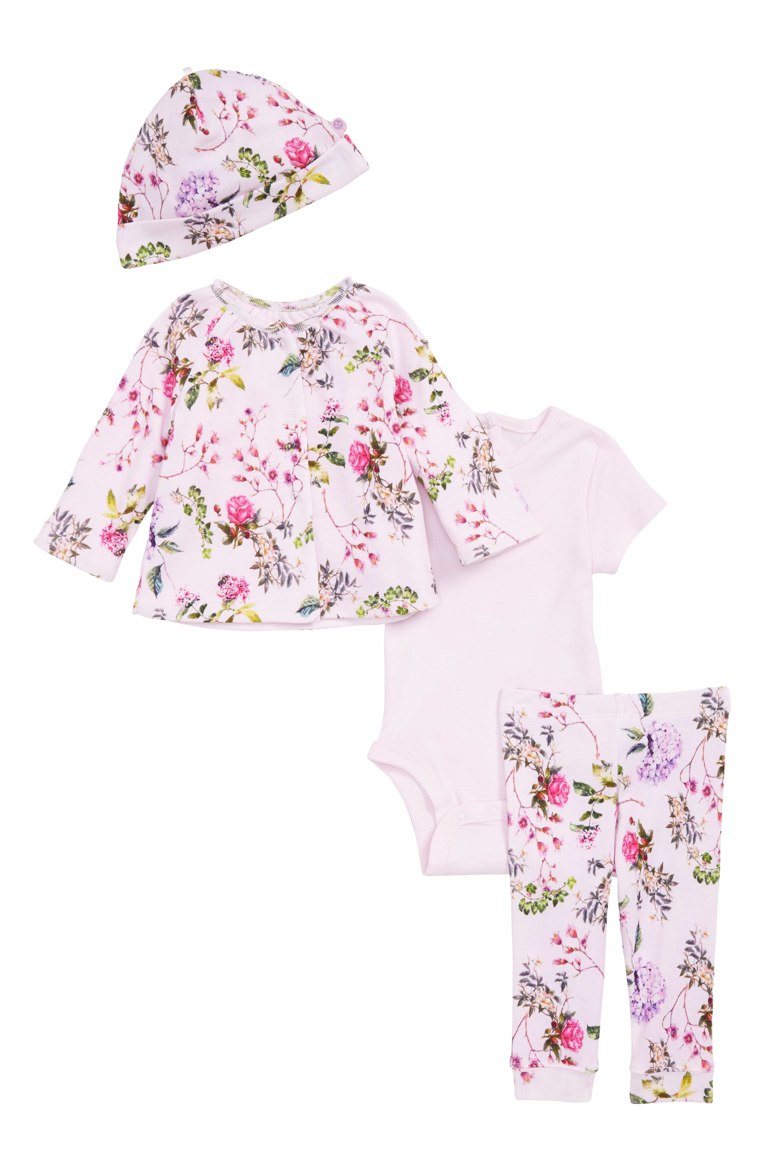 Blooms Reversible Jacket, Bodysuit, Leggings & Hat Set,                             Main thumbnail 1, color,                             Floral