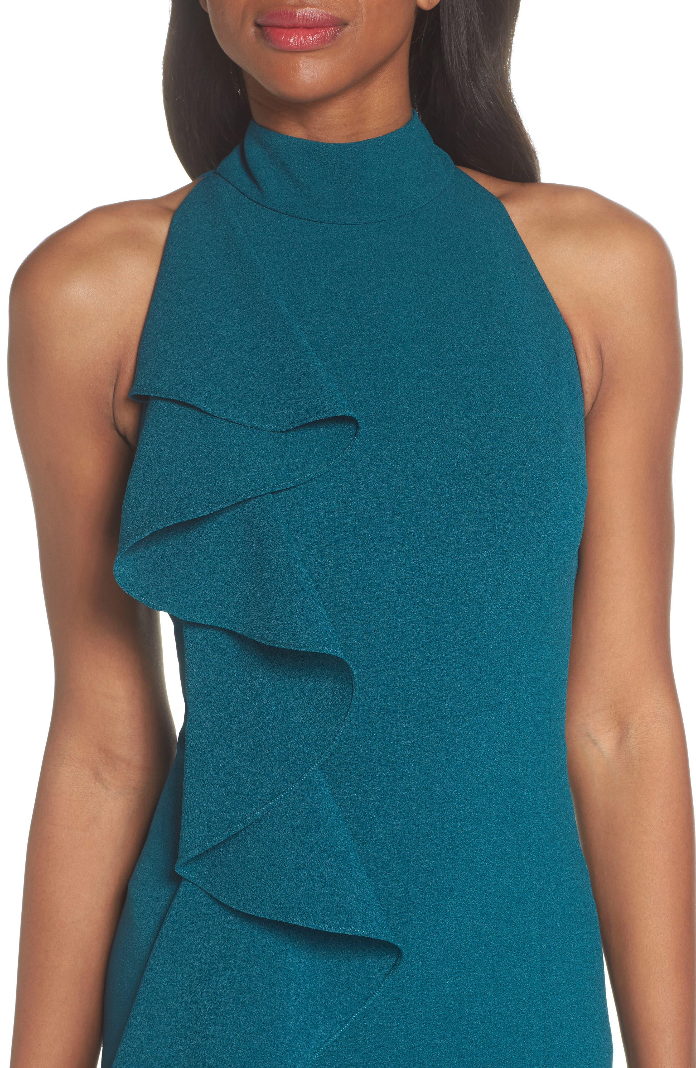 Ruffle Sheath Dress,                             Alternate thumbnail 4, color,                             Peacock
