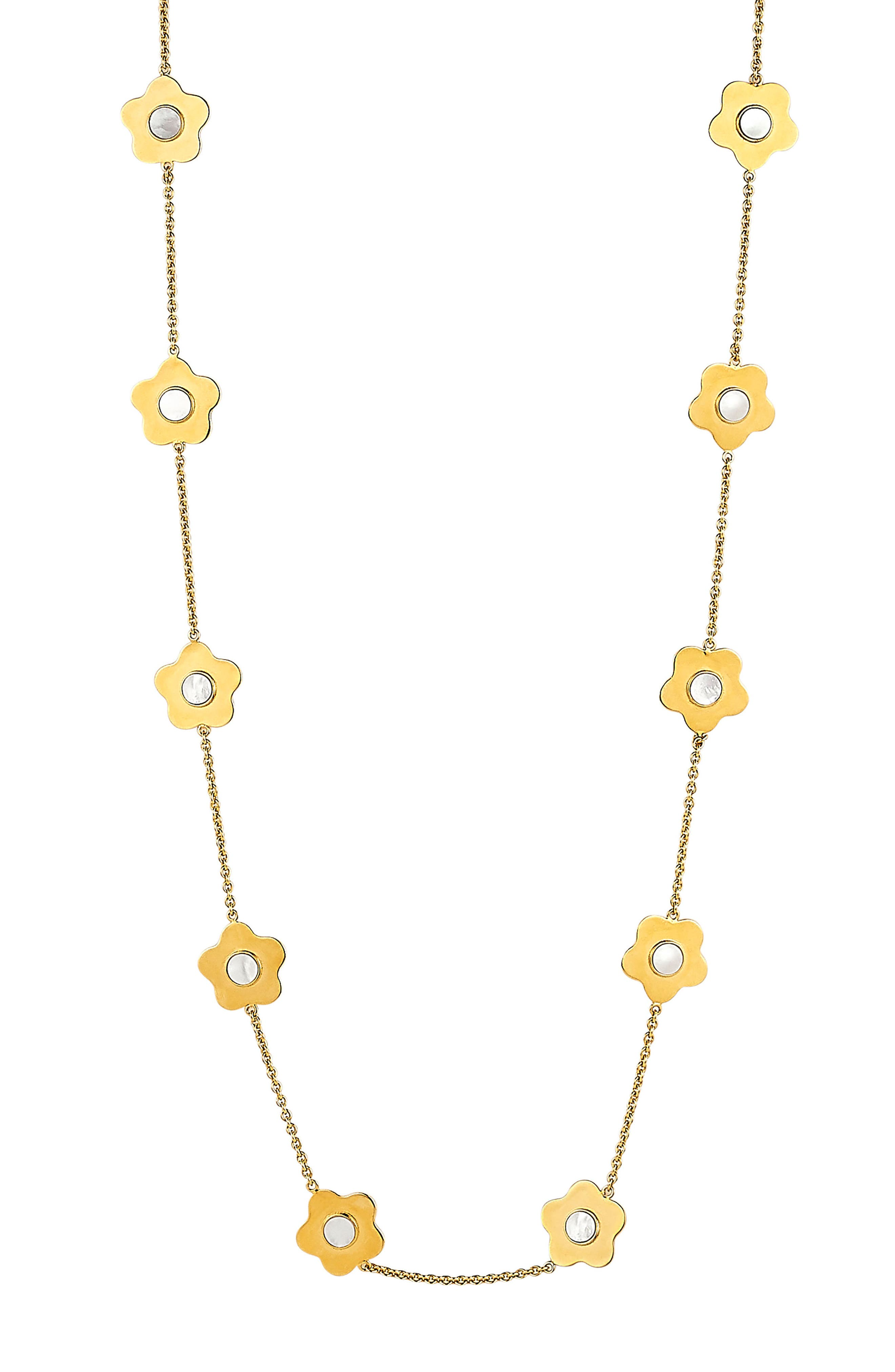 Lulu Mother-of-Pearl Station Necklace,                         Main,                         color, Mother Of Pearl/ Gold
