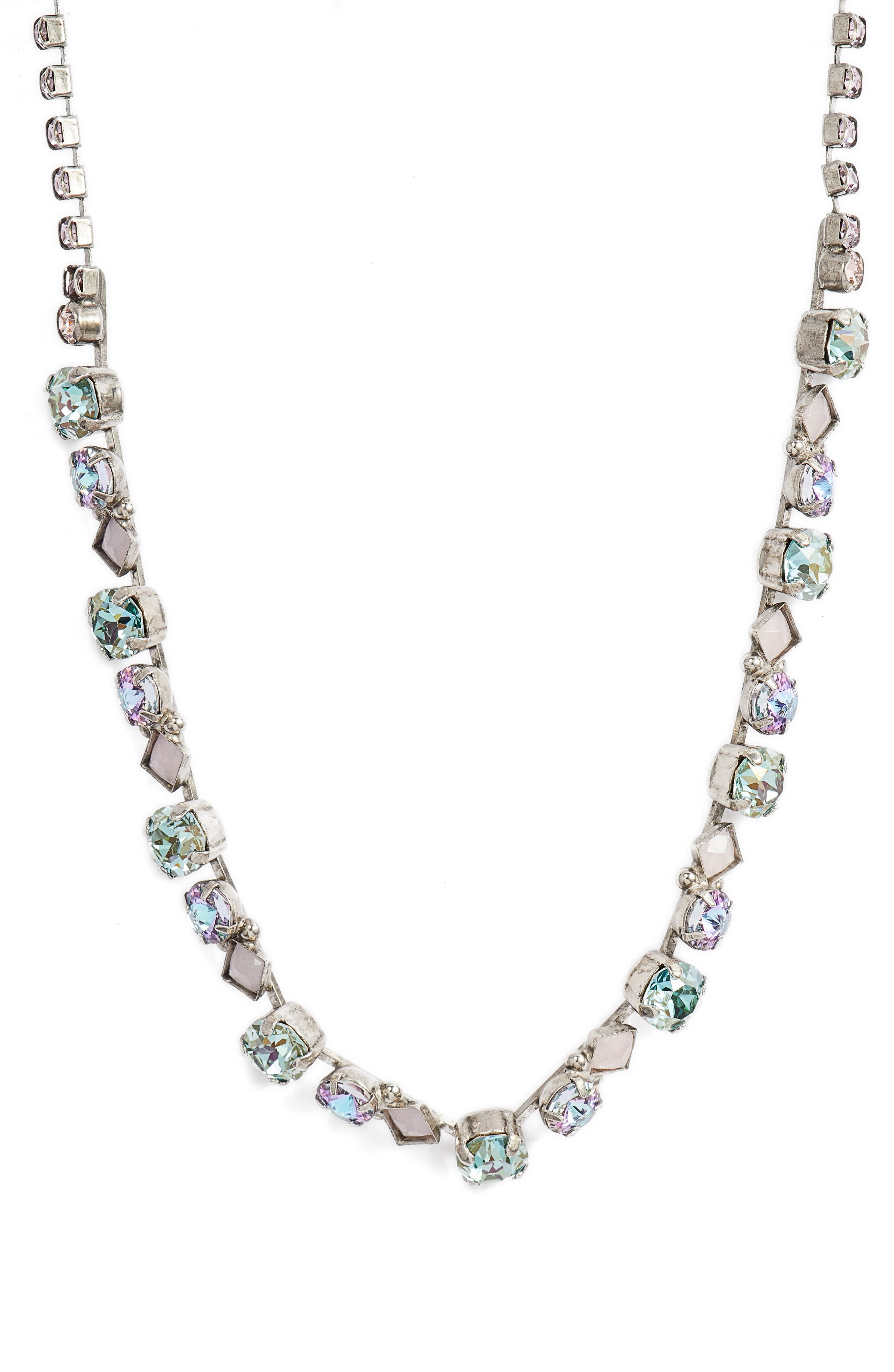 Dazzling Crystal Necklace,                         Main,                         color, Purple