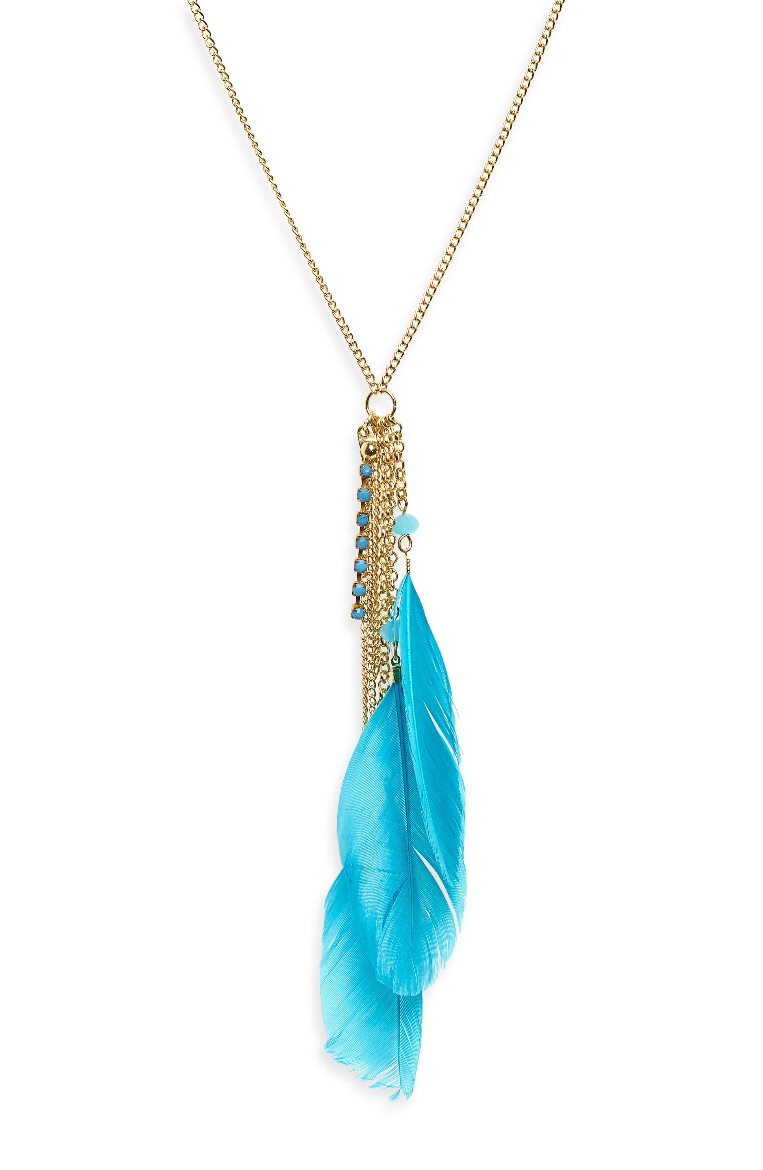 Kayla Feather Necklace,                             Alternate thumbnail 2, color,                             Turquoise