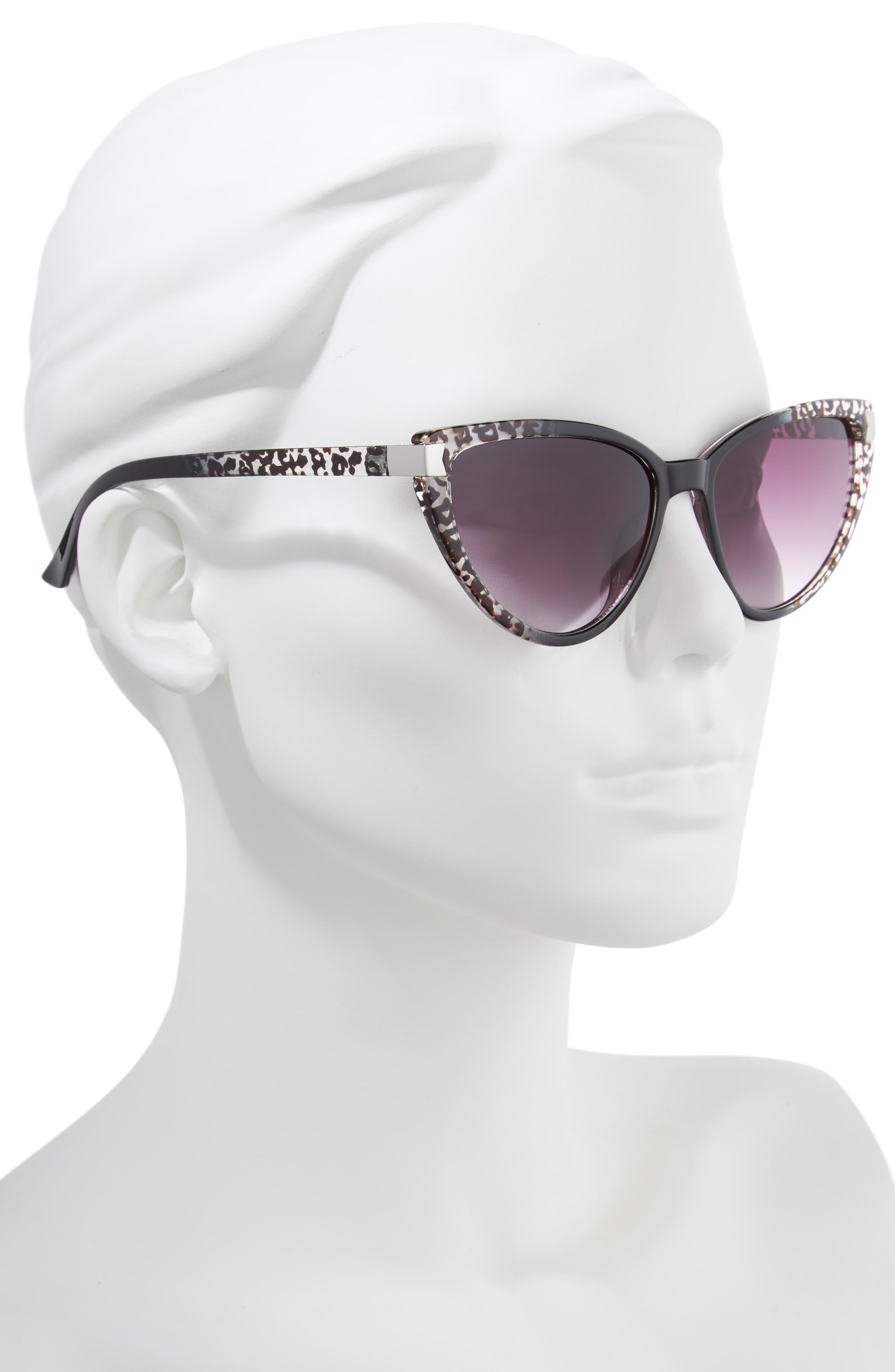 57mm Spotted Cat Eye Sunglasses,                             Alternate thumbnail 2, color,                             Black/ White