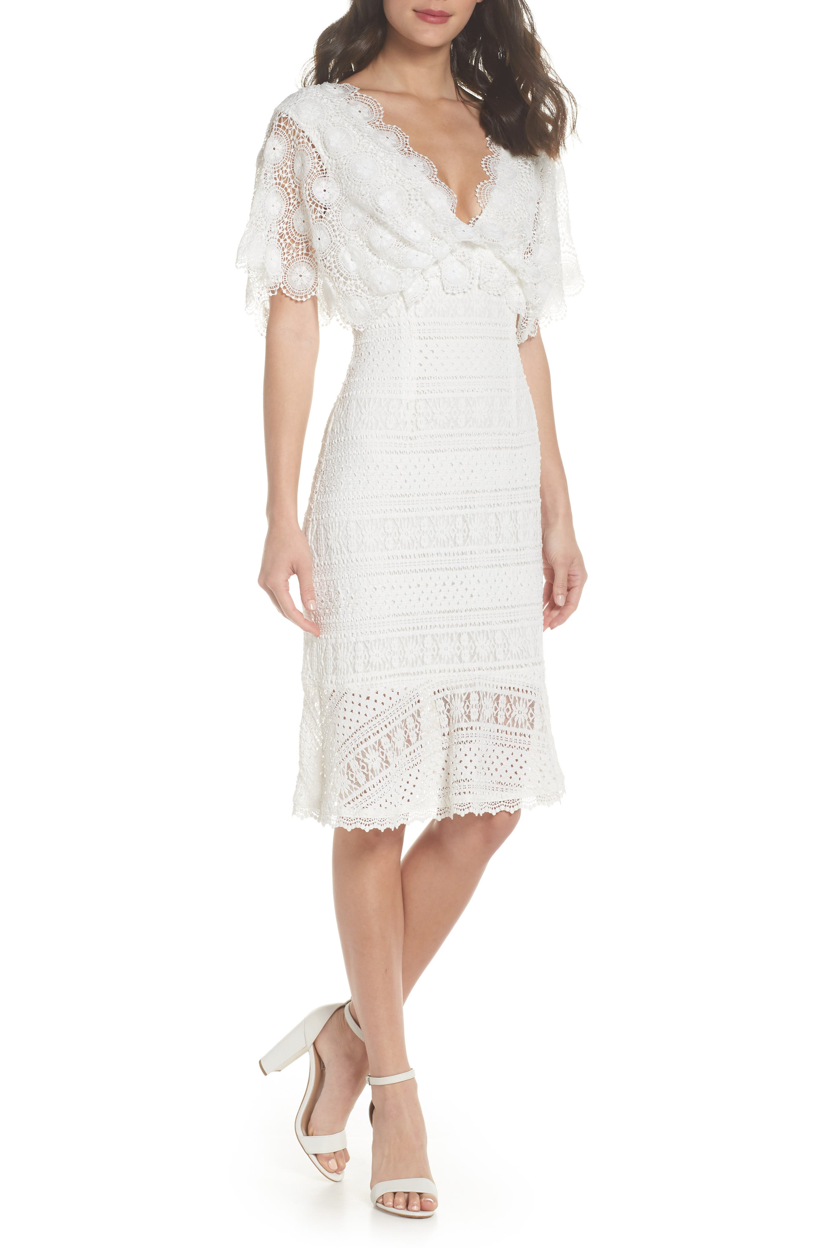 Mavis Scalloped Lace Dress,                             Main thumbnail 1, color,                             Off White