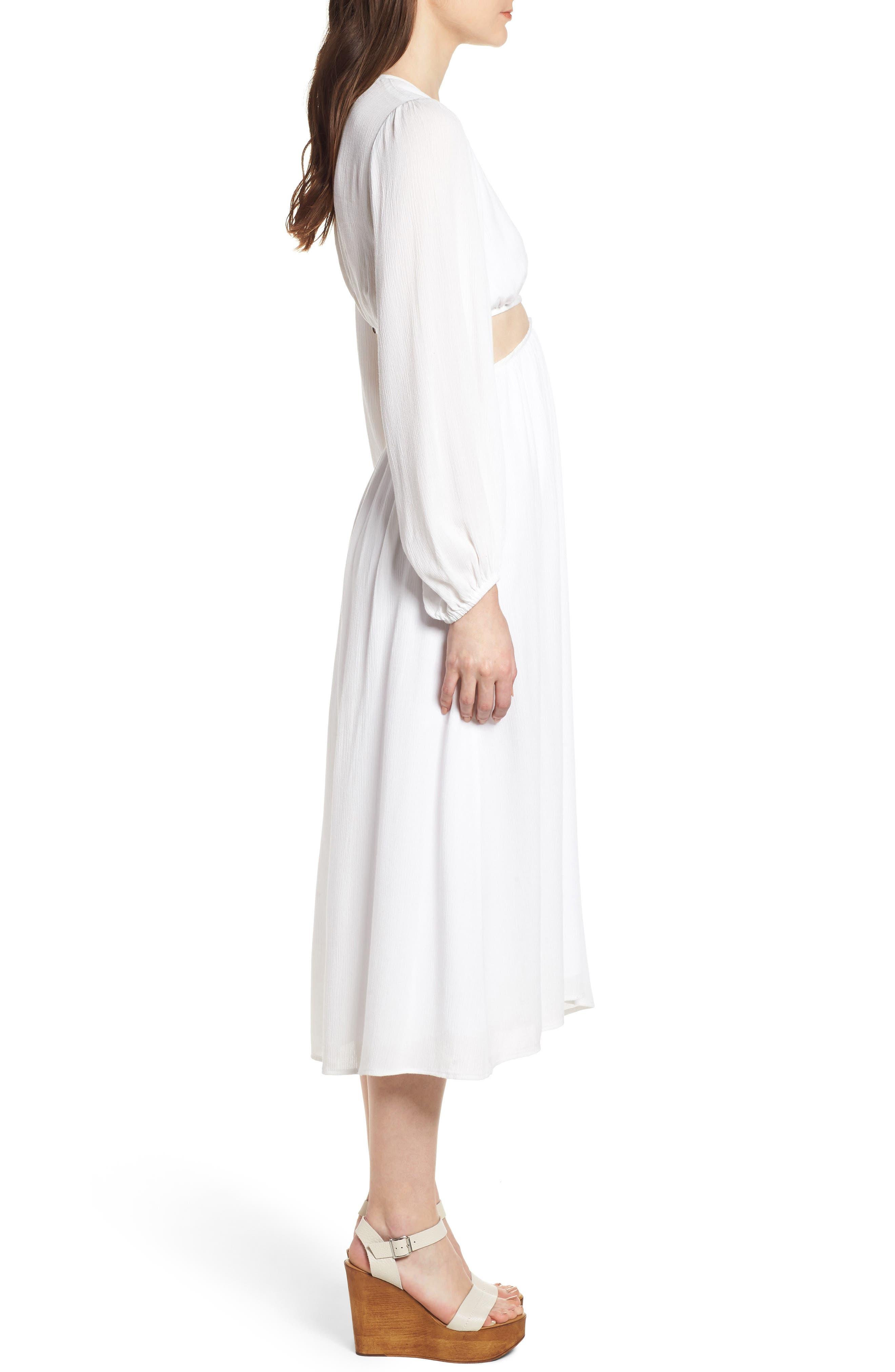 Babylon Cutout Dress,                             Alternate thumbnail 3, color,                             Ivory