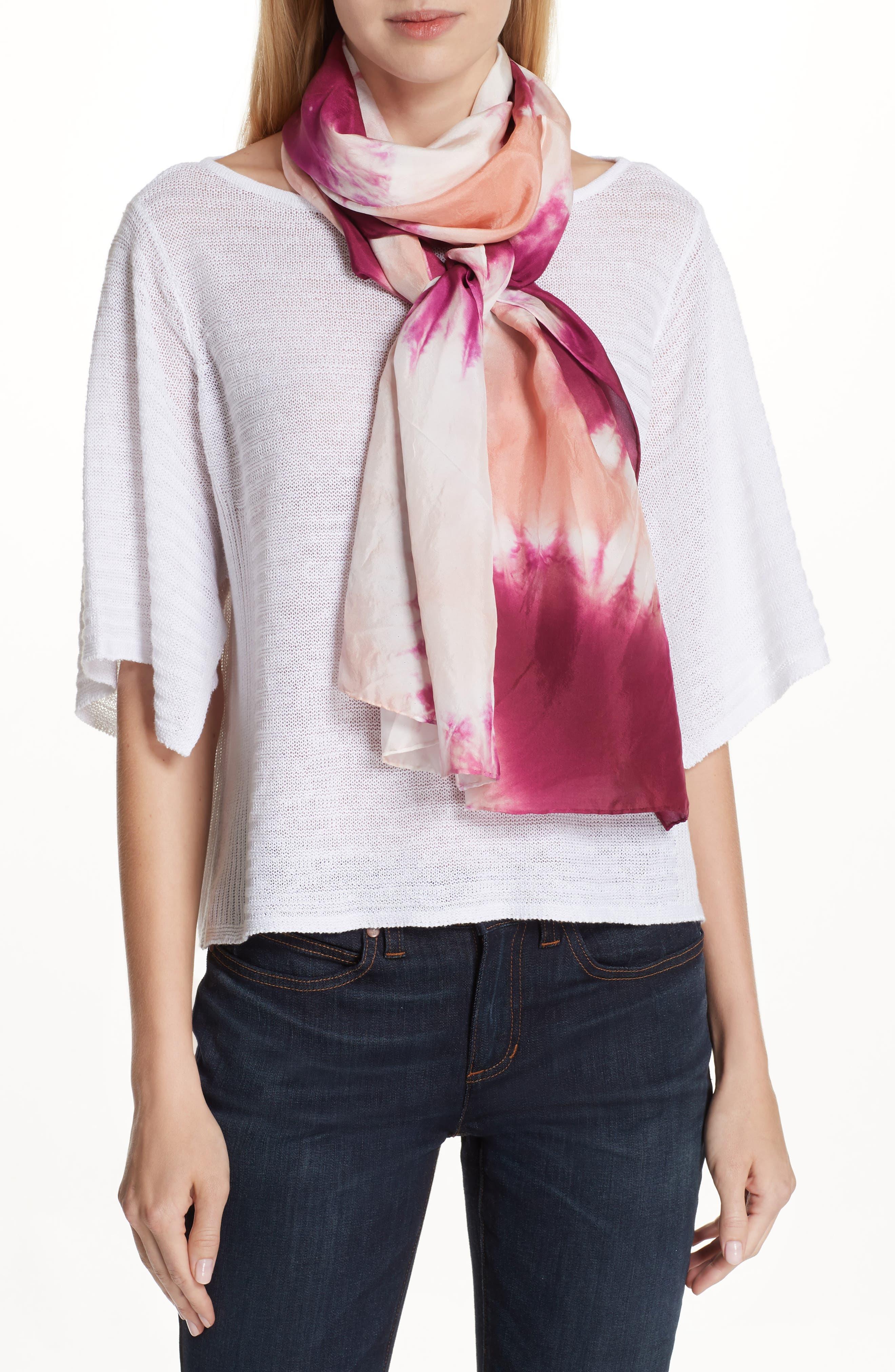 Tie Dye Silk Scarf,                         Main,                         color, Cerise