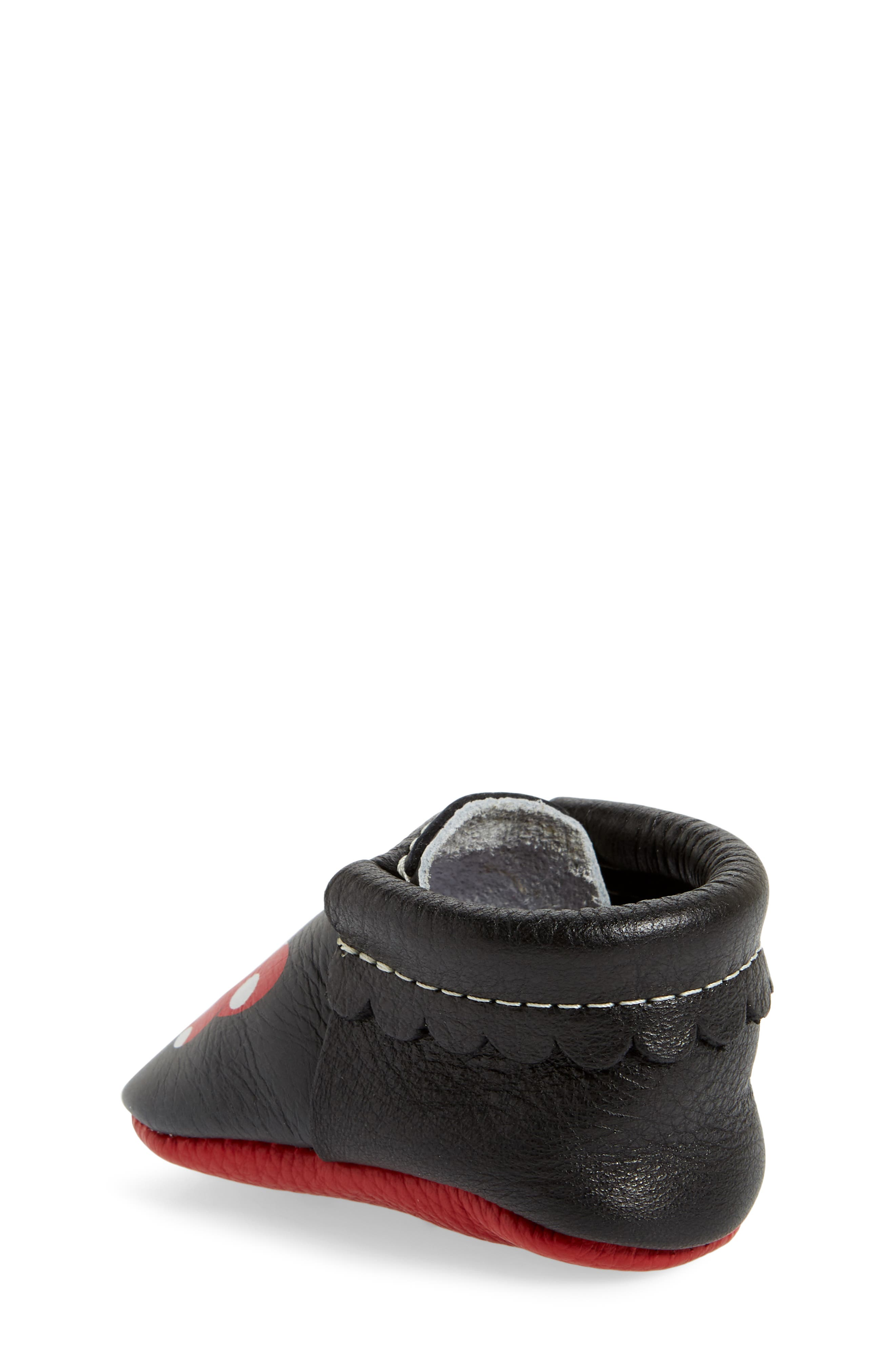 x Disney<sup>®</sup> Baby Minnie Mouse Crib Moccasin,                             Alternate thumbnail 2, color,                             Black Leather