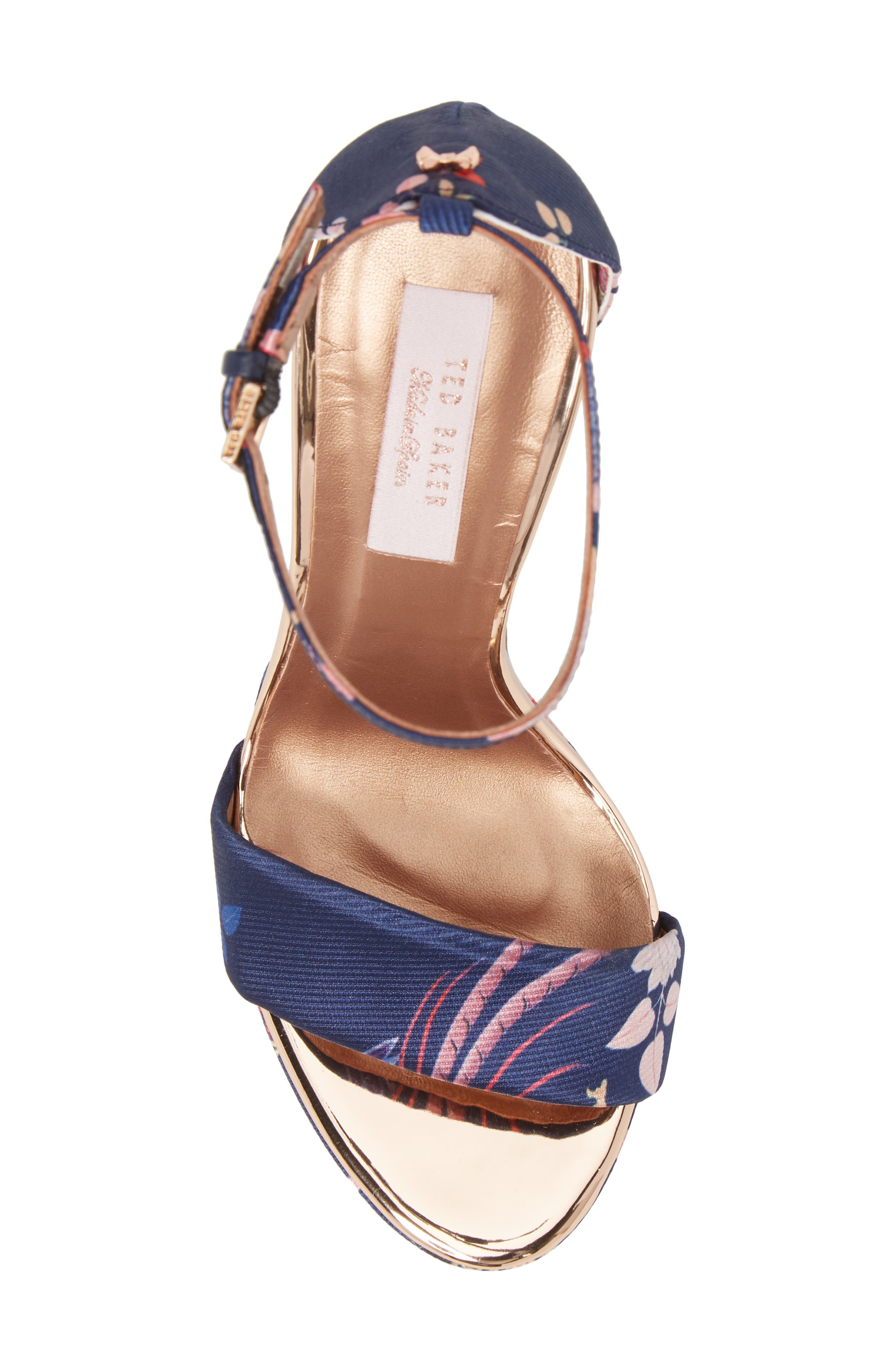 Junaa Sandal,                             Alternate thumbnail 5, color,                             Navy Fabric