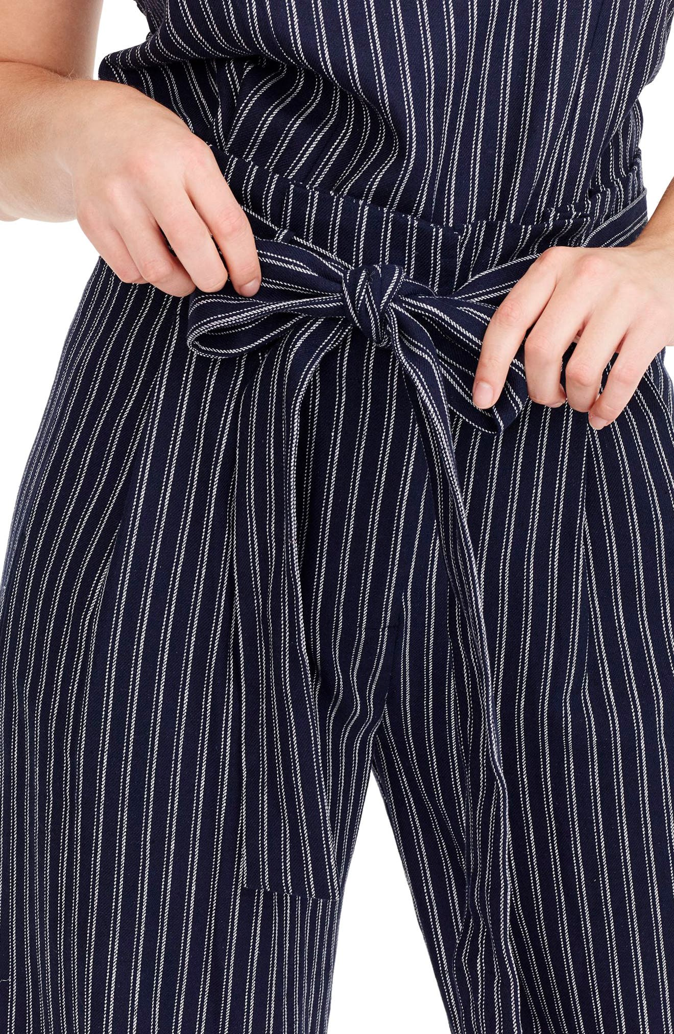 Point Sur Paperbag Pants,                             Alternate thumbnail 3, color,                             Navy White Stripe