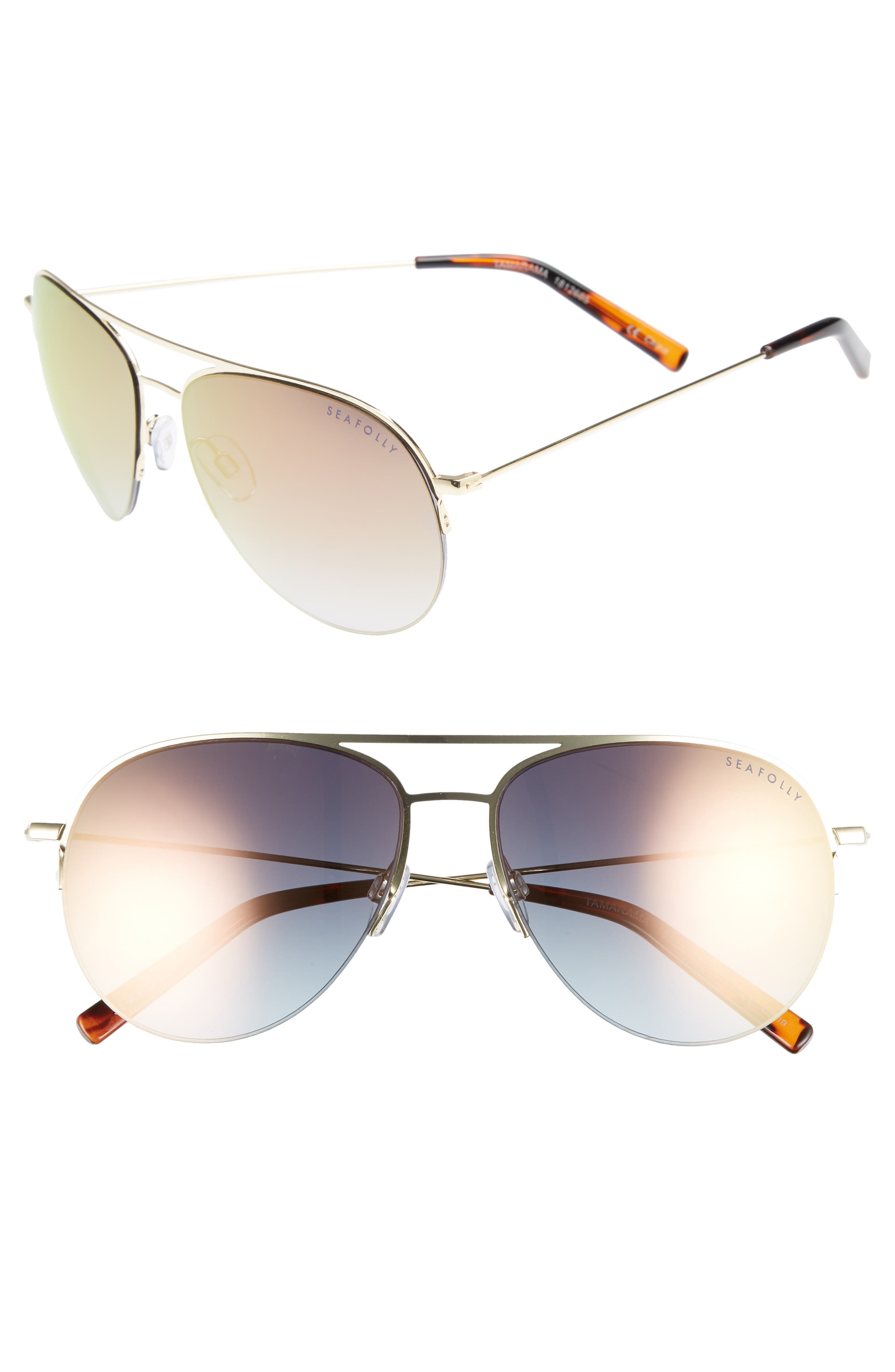 Tamarama 60mm Aviator Sunglasses,                             Main thumbnail 1, color,                             Gold