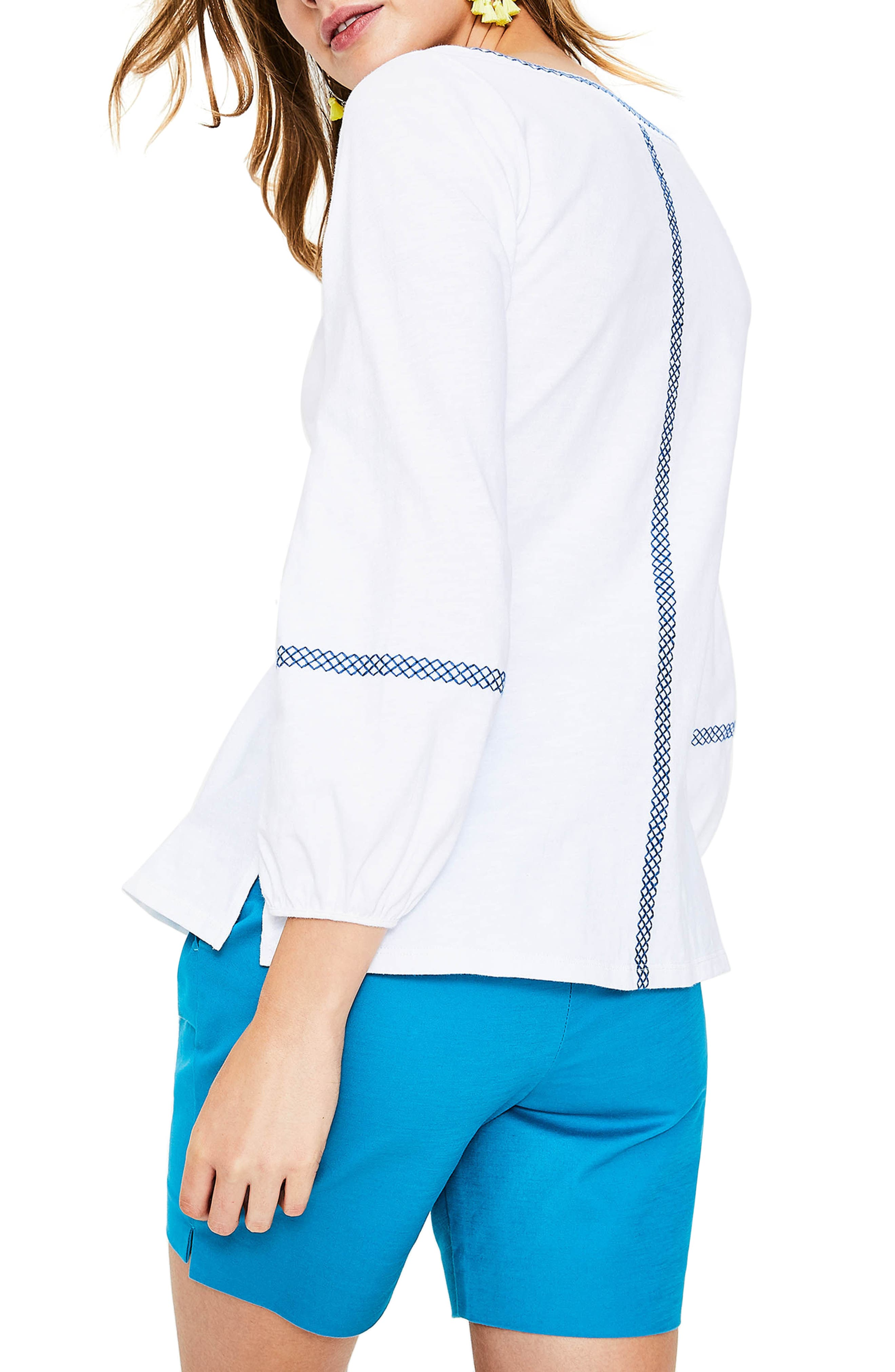 Tassel Embroidered Top,                             Alternate thumbnail 3, color,                             White