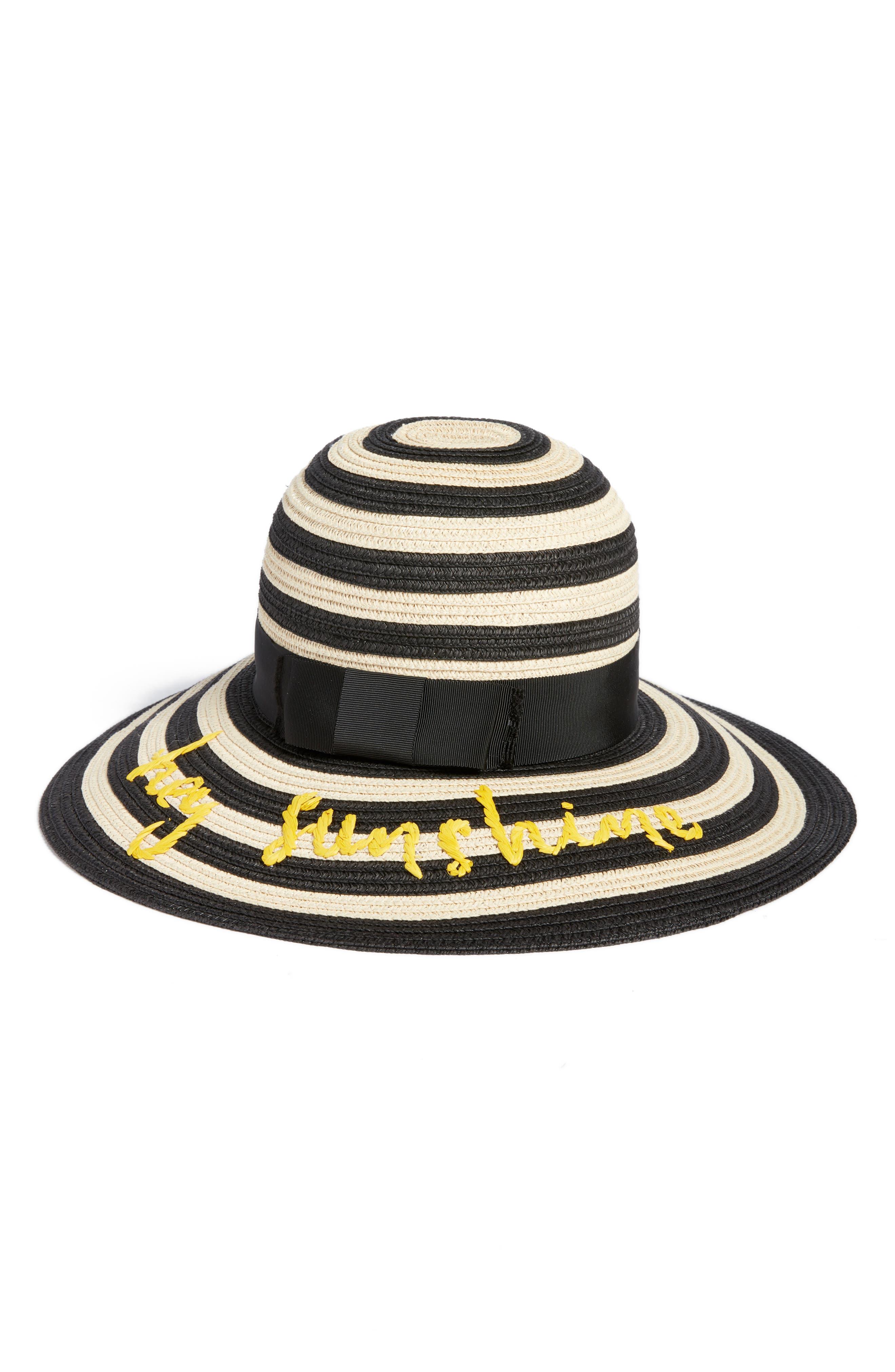 hey sunshine straw sun hat,                             Main thumbnail 1, color,                             Black