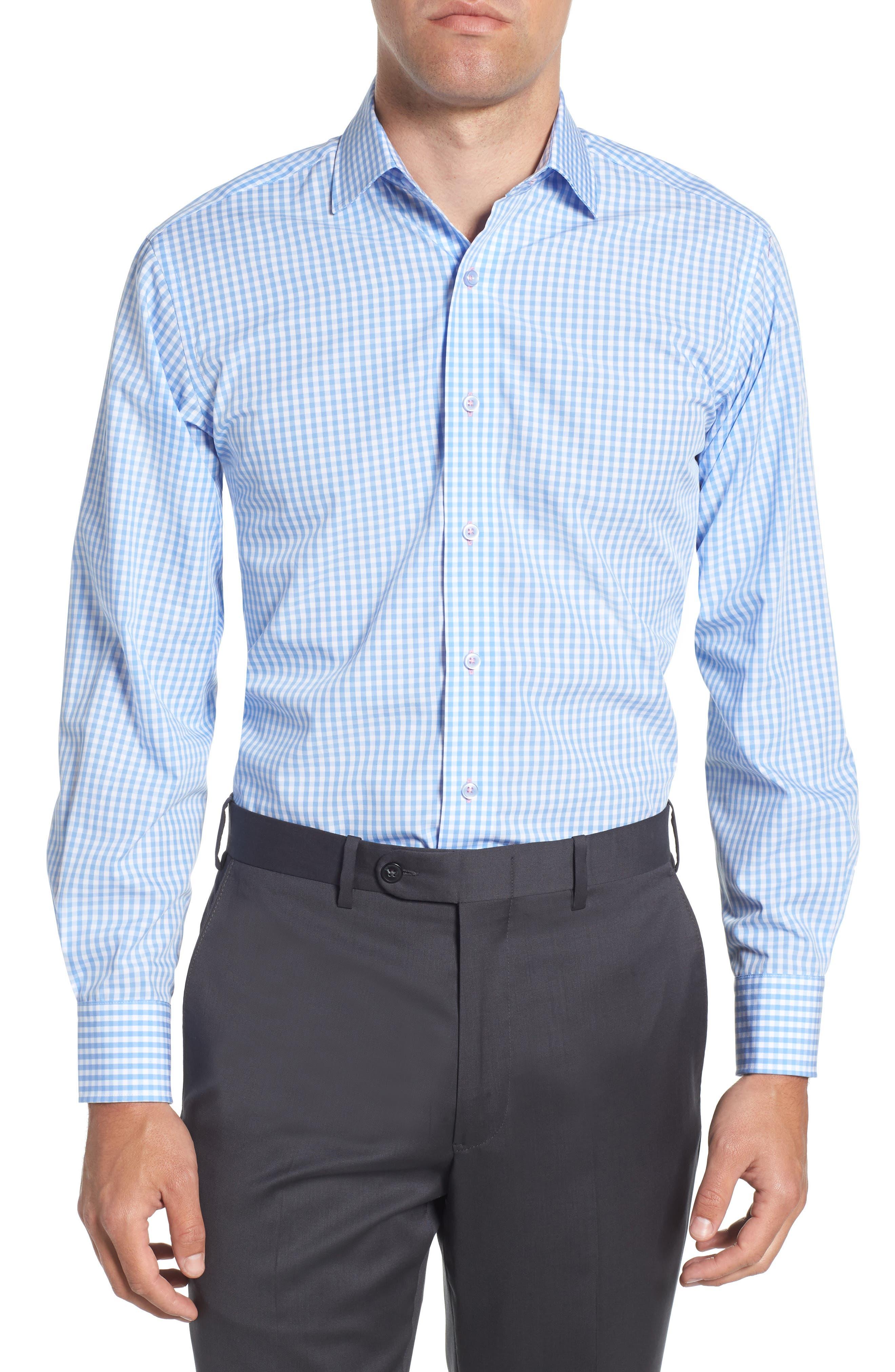 Trim Fit Check Dress Shirt,                             Main thumbnail 1, color,                             Light Blue