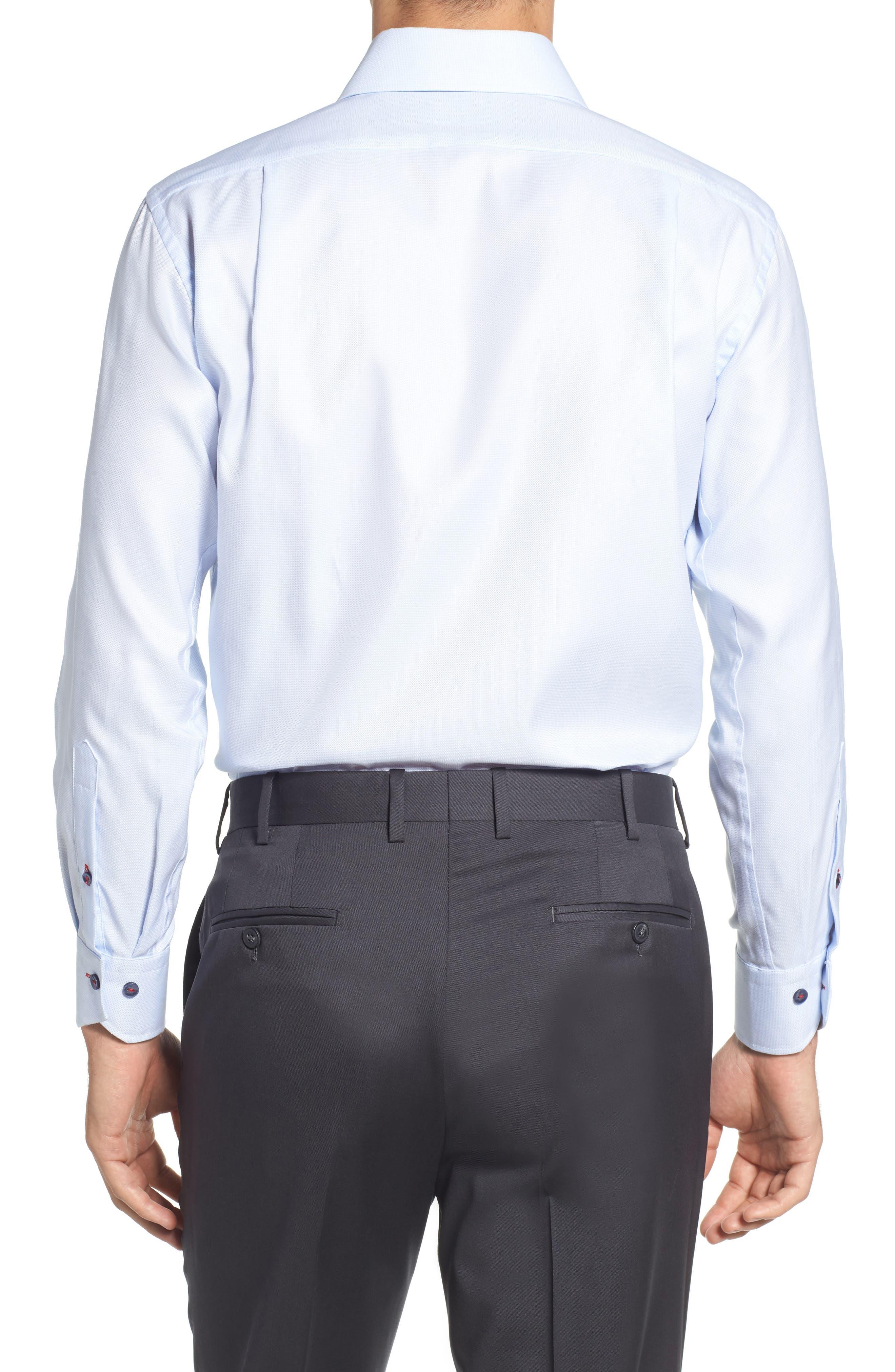 Trim Fit Solid Dress Shirt,                             Alternate thumbnail 3, color,                             Light Blue