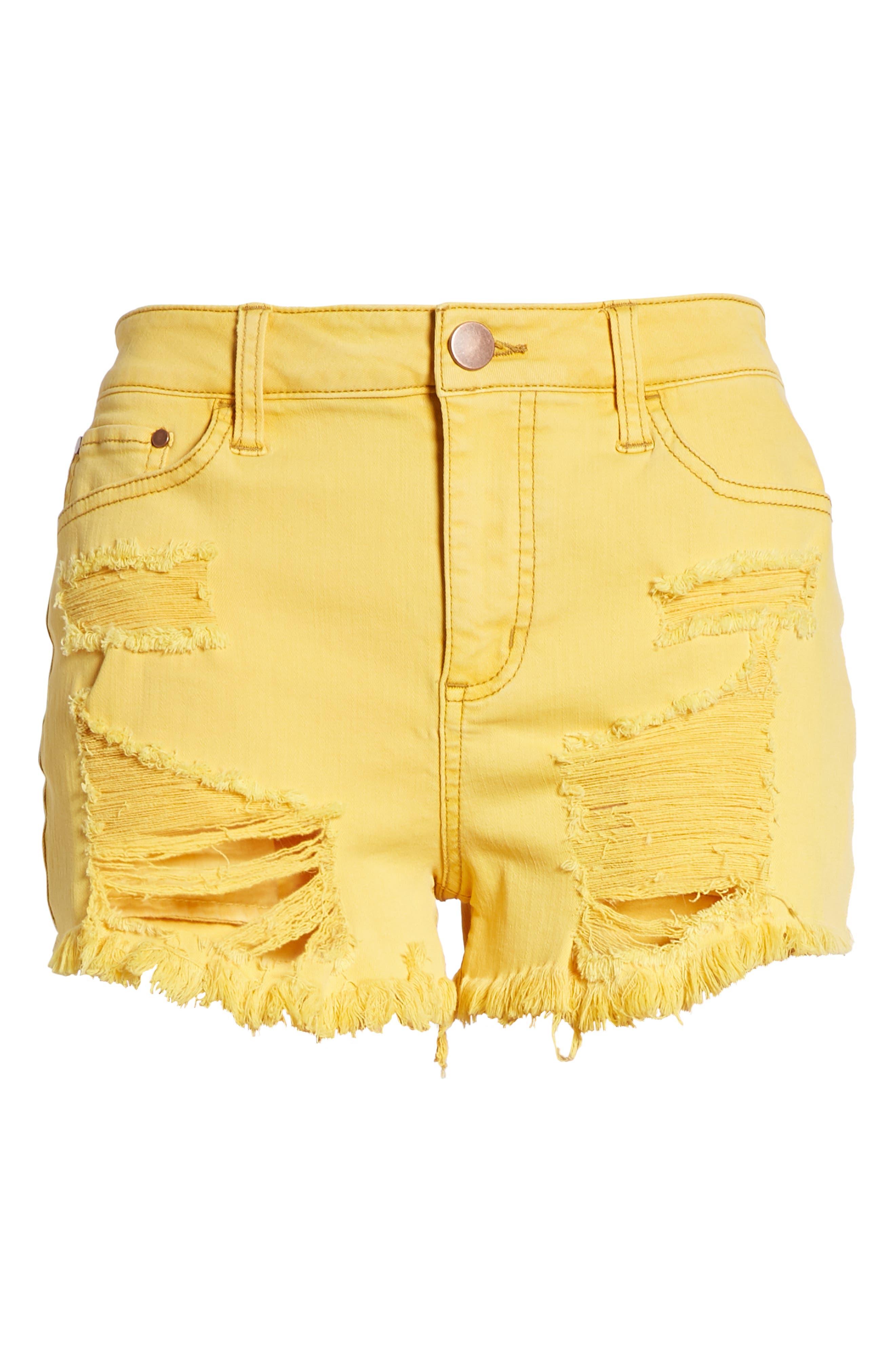Decon Ripped Denim Shorts,                             Alternate thumbnail 7, color,                             Marigold