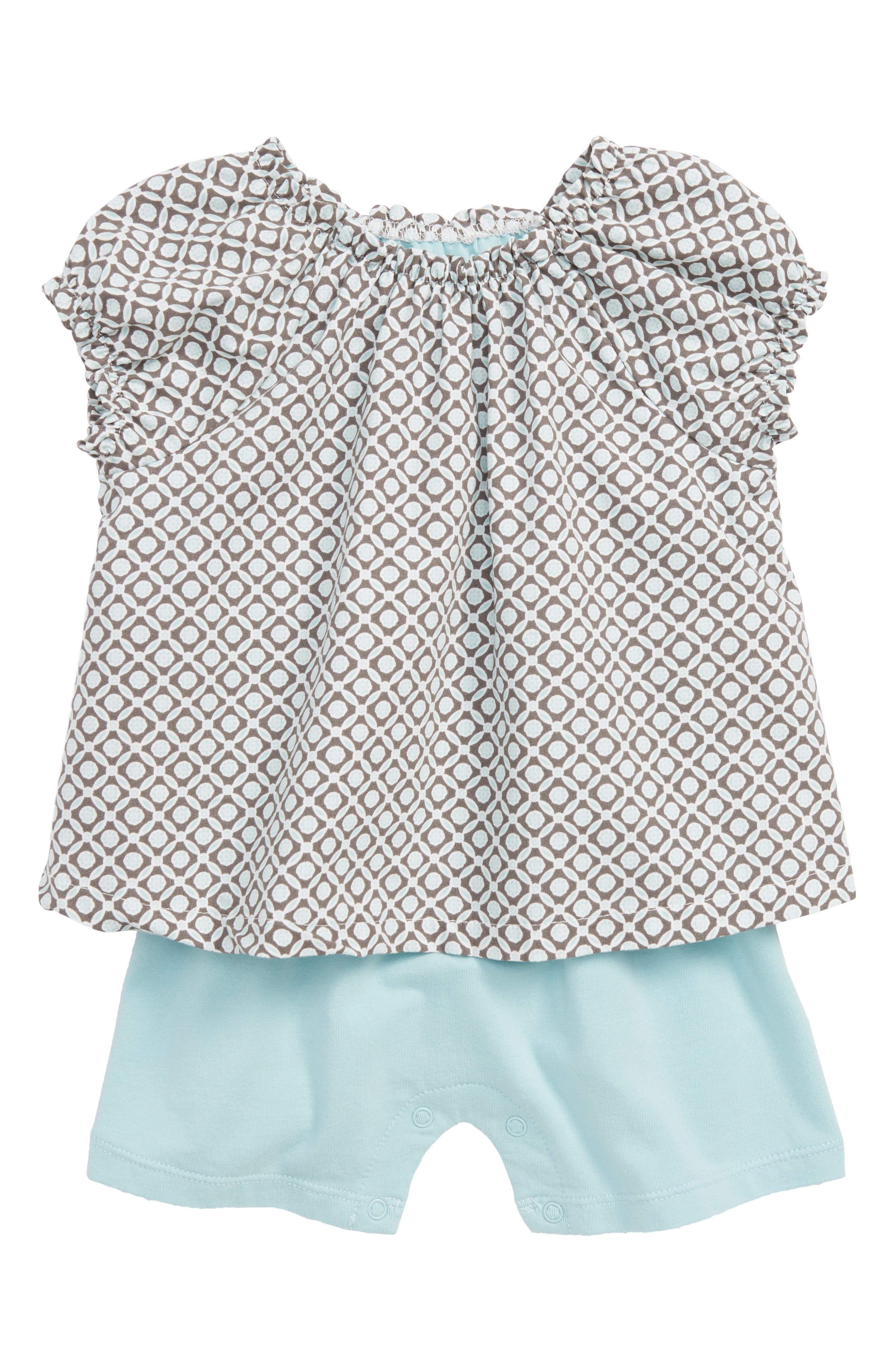 Geo Popover Romper,                             Main thumbnail 1, color,                             Turquoise