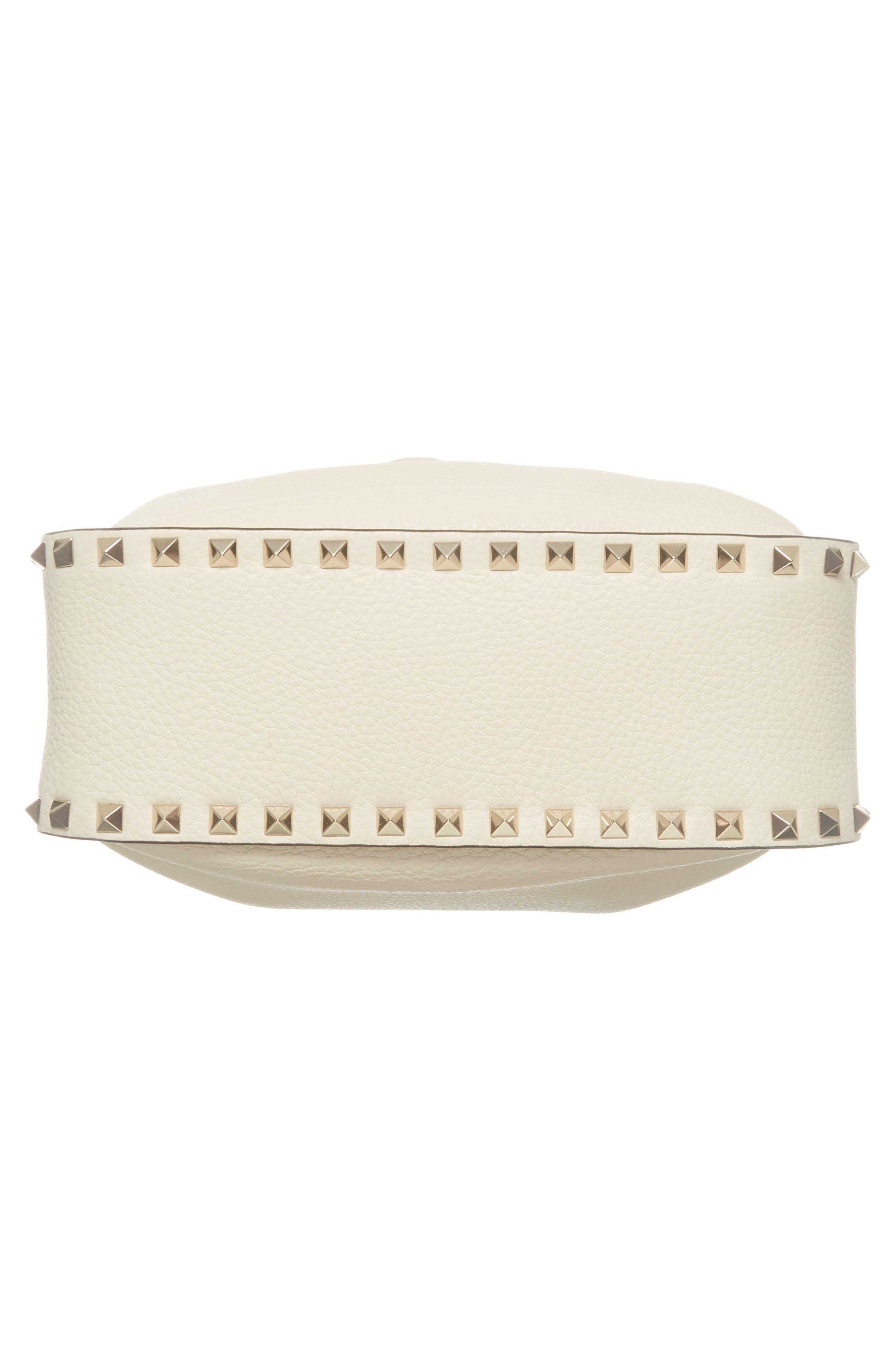 Large Rockstud Leather Bucket Bag,                             Alternate thumbnail 6, color,                             Ivory/ Gold