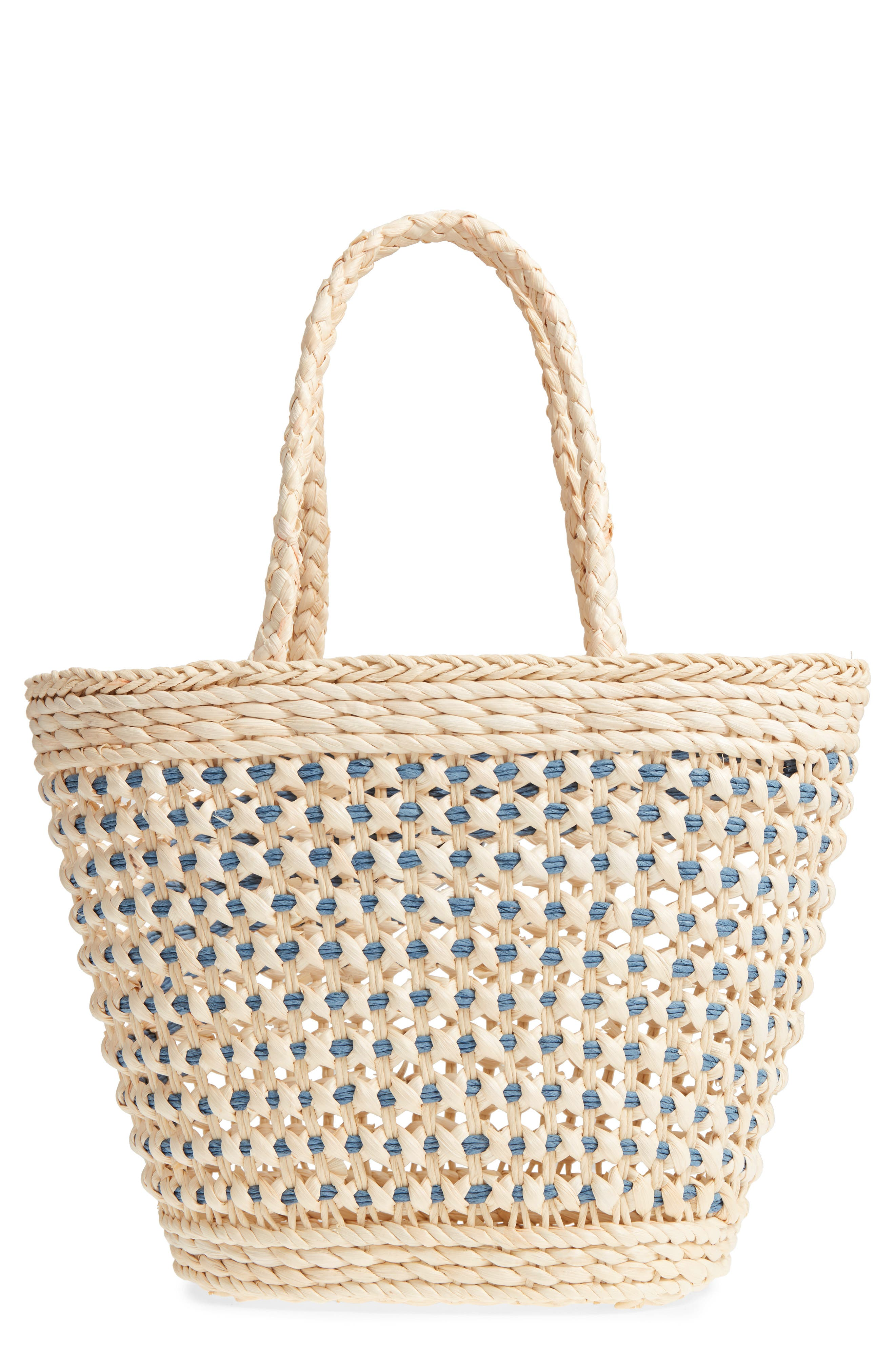 Woven Straw Tote,                             Main thumbnail 1, color,                             Nautral/Blue