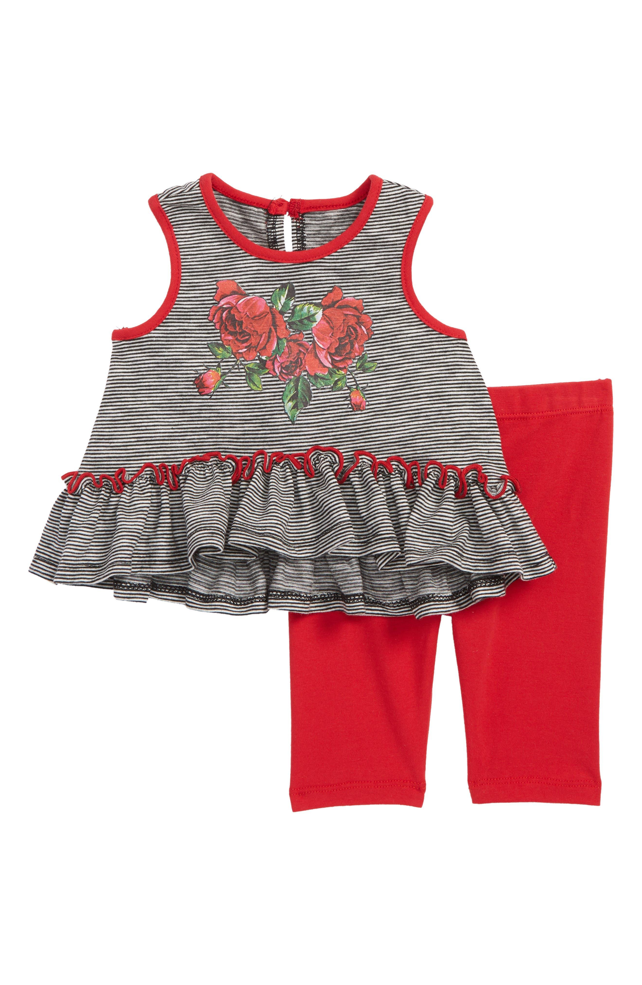 Dress & Capri Leggings Set,                             Main thumbnail 1, color,                             Black/ White