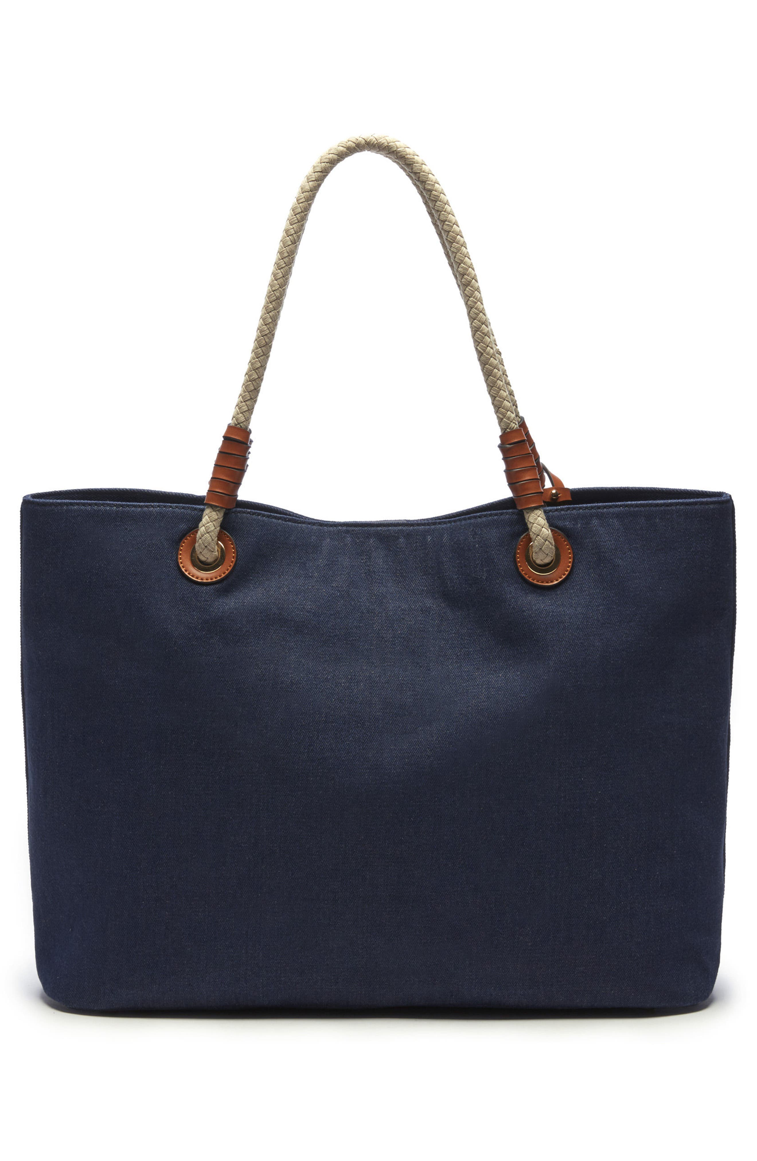 Faux Leather Oversize Tote,                             Alternate thumbnail 3, color,                             Denim