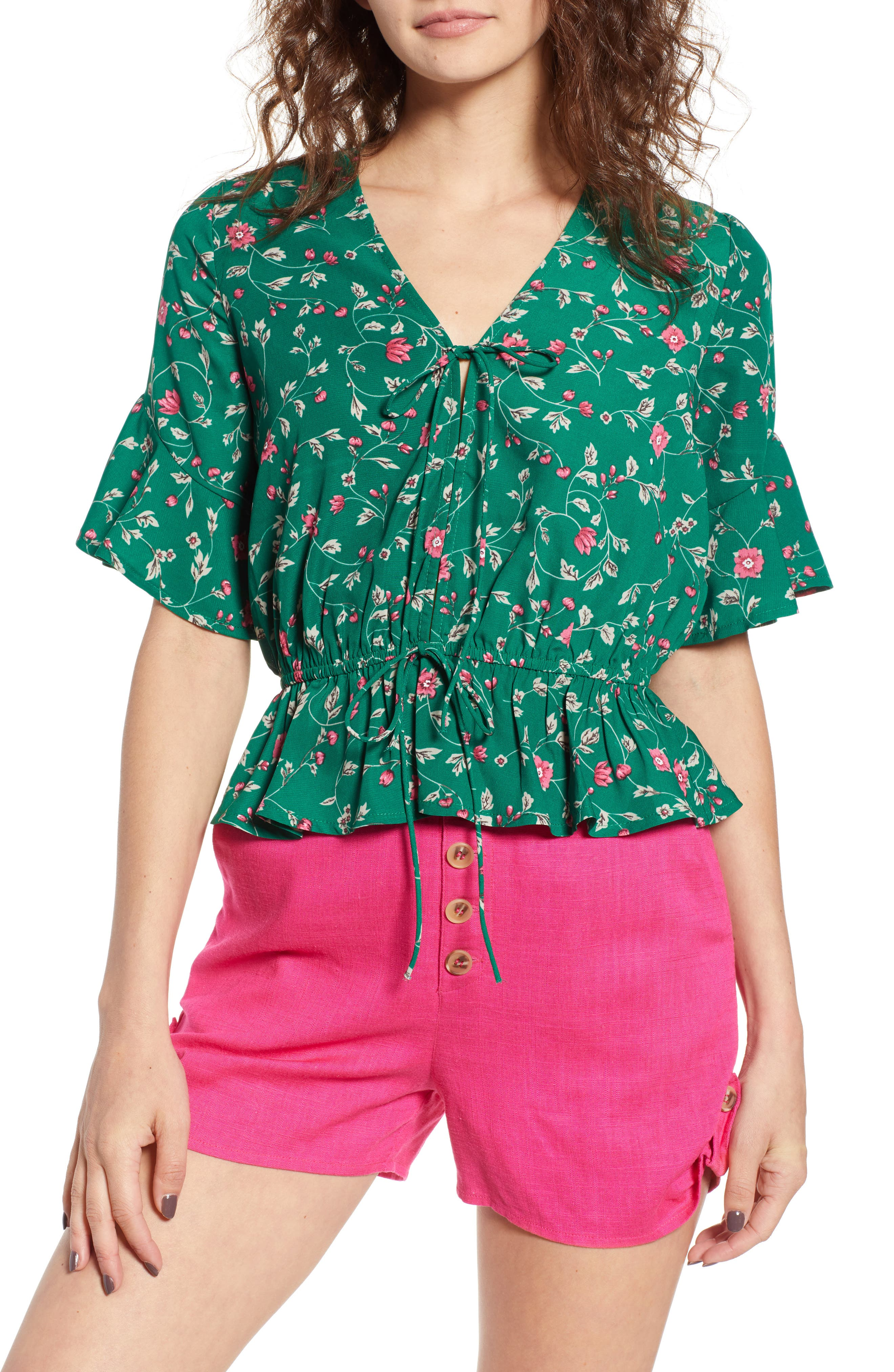 Floral Tie Front Peplum Top,                             Main thumbnail 1, color,                             Green/ Pink Floral