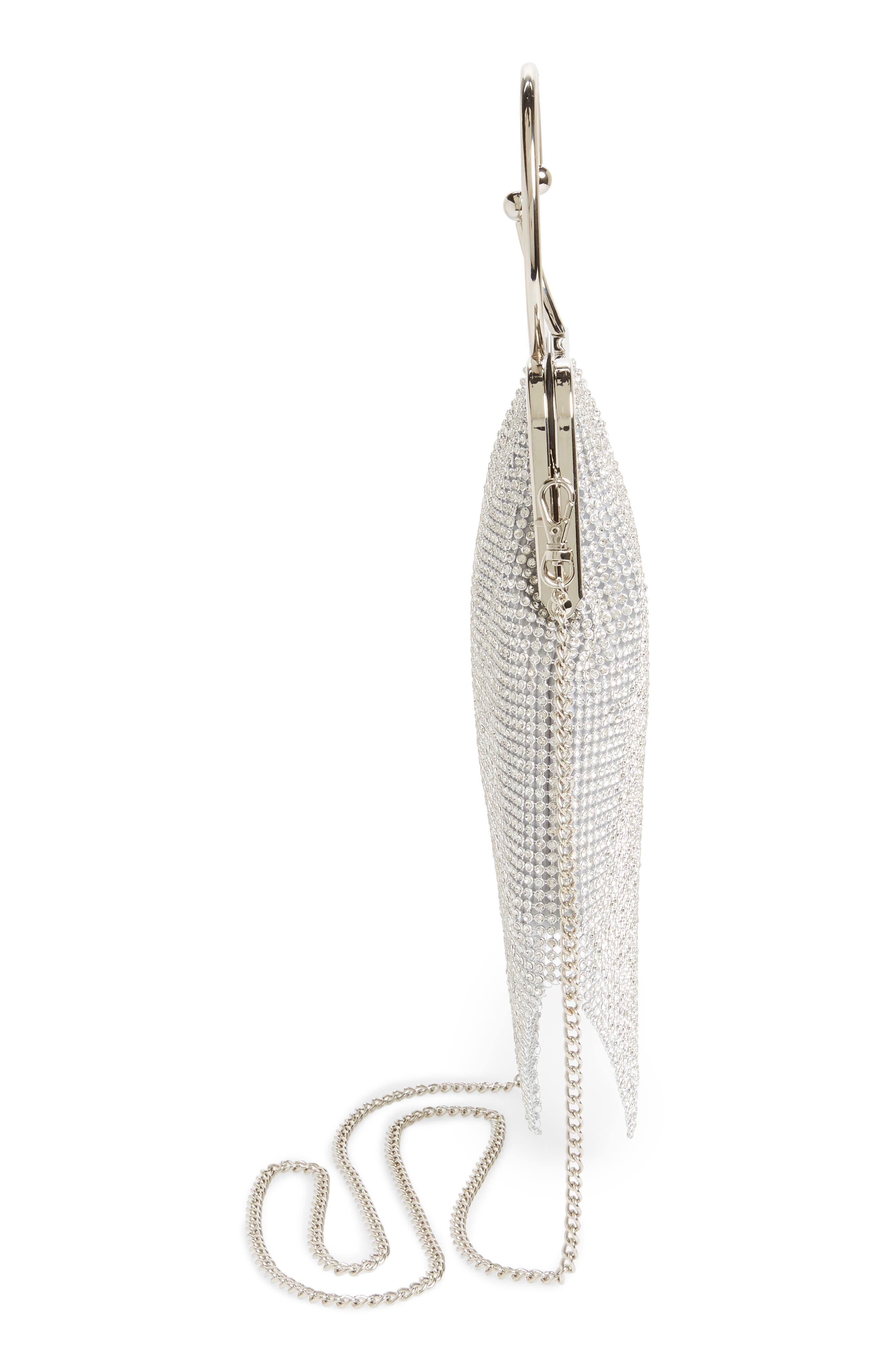 Ring Mesh Clutch,                             Alternate thumbnail 5, color,                             Silver
