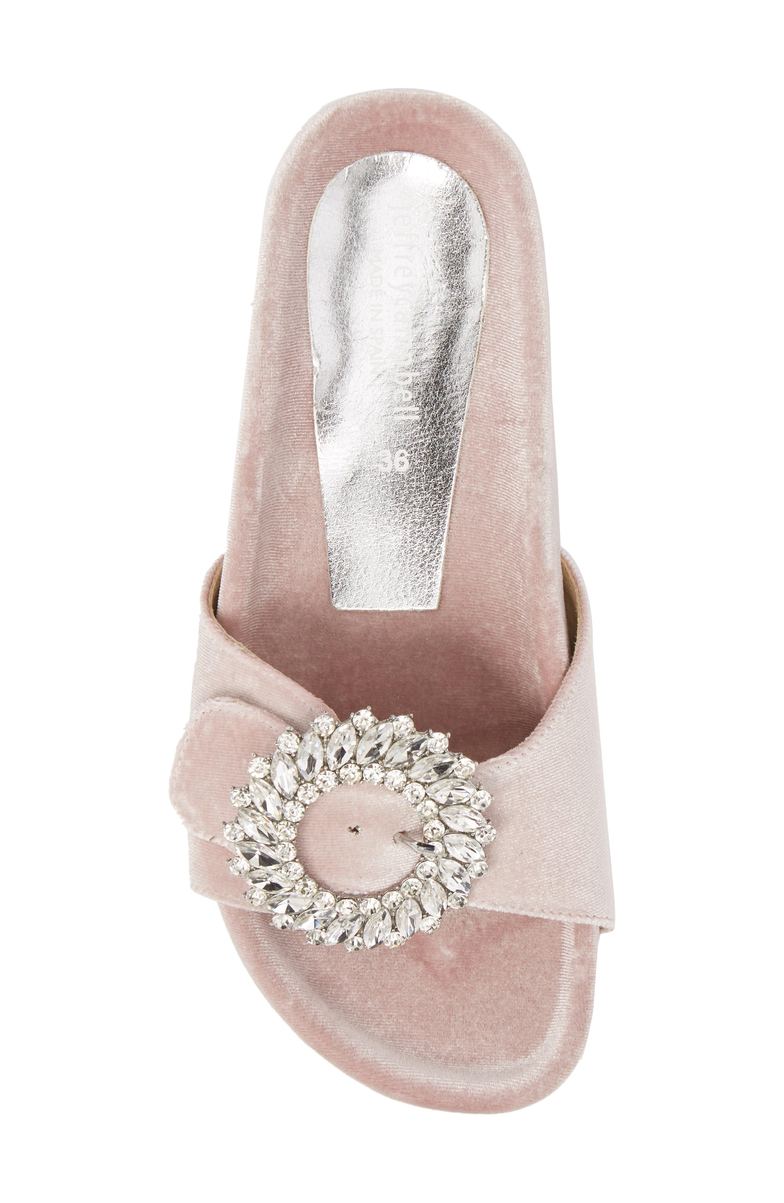 Upolu Embellished Slide Sandal,                             Alternate thumbnail 5, color,                             Blush Velvet/ Silver