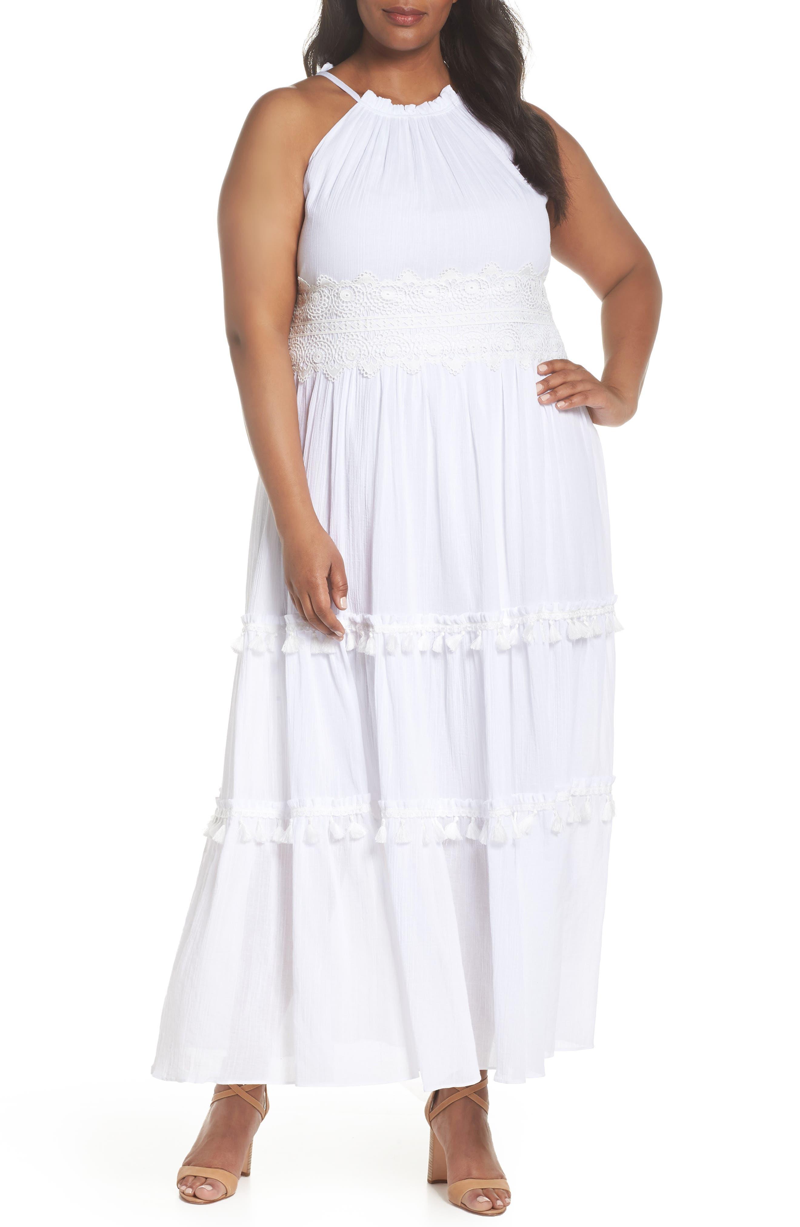 Halter Neck Cotton Maxi Dress,                             Main thumbnail 1, color,                             Ivory
