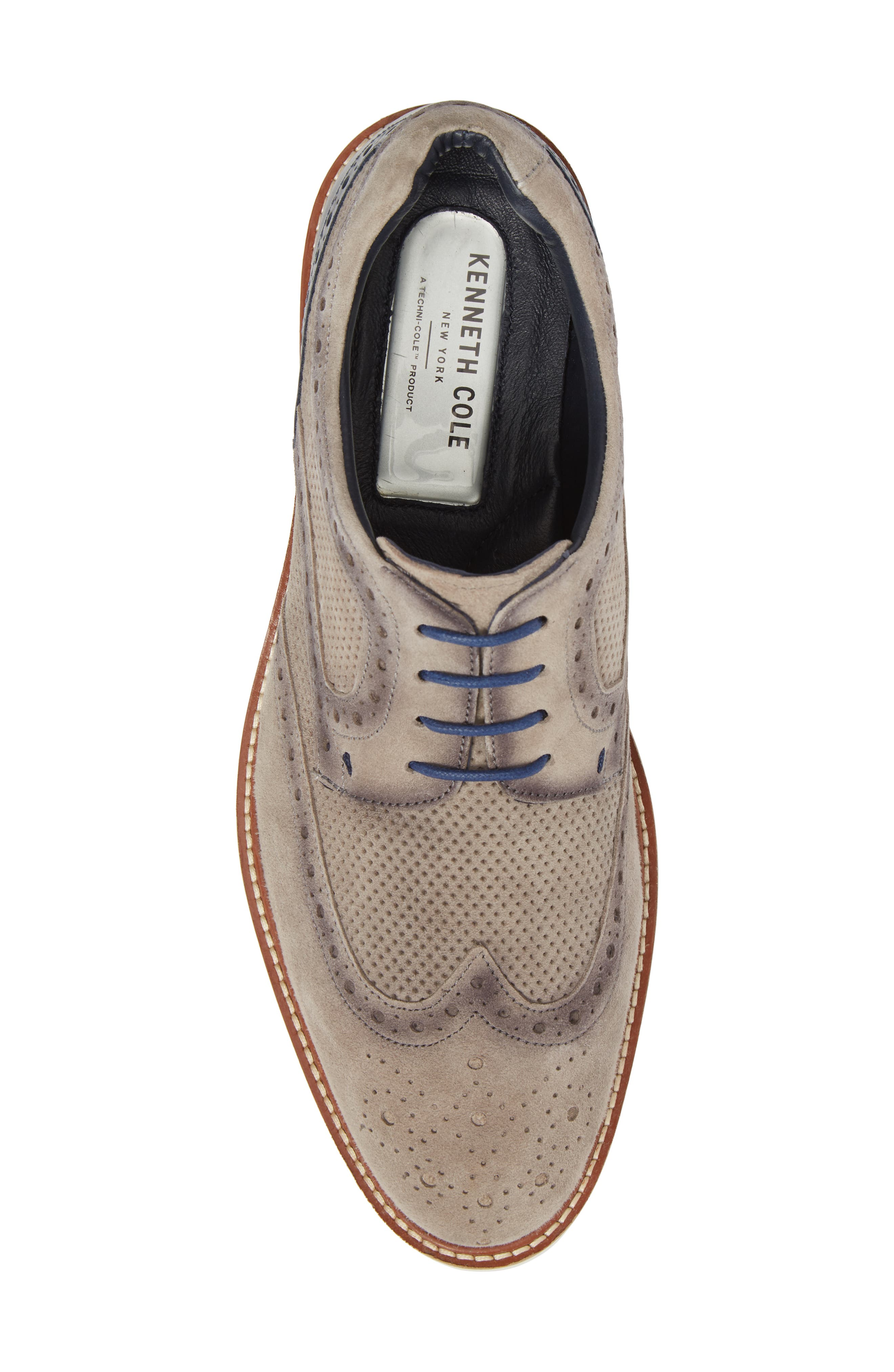 Shaw Perforated Wingtip Derby,                             Alternate thumbnail 5, color,                             Grey Suede
