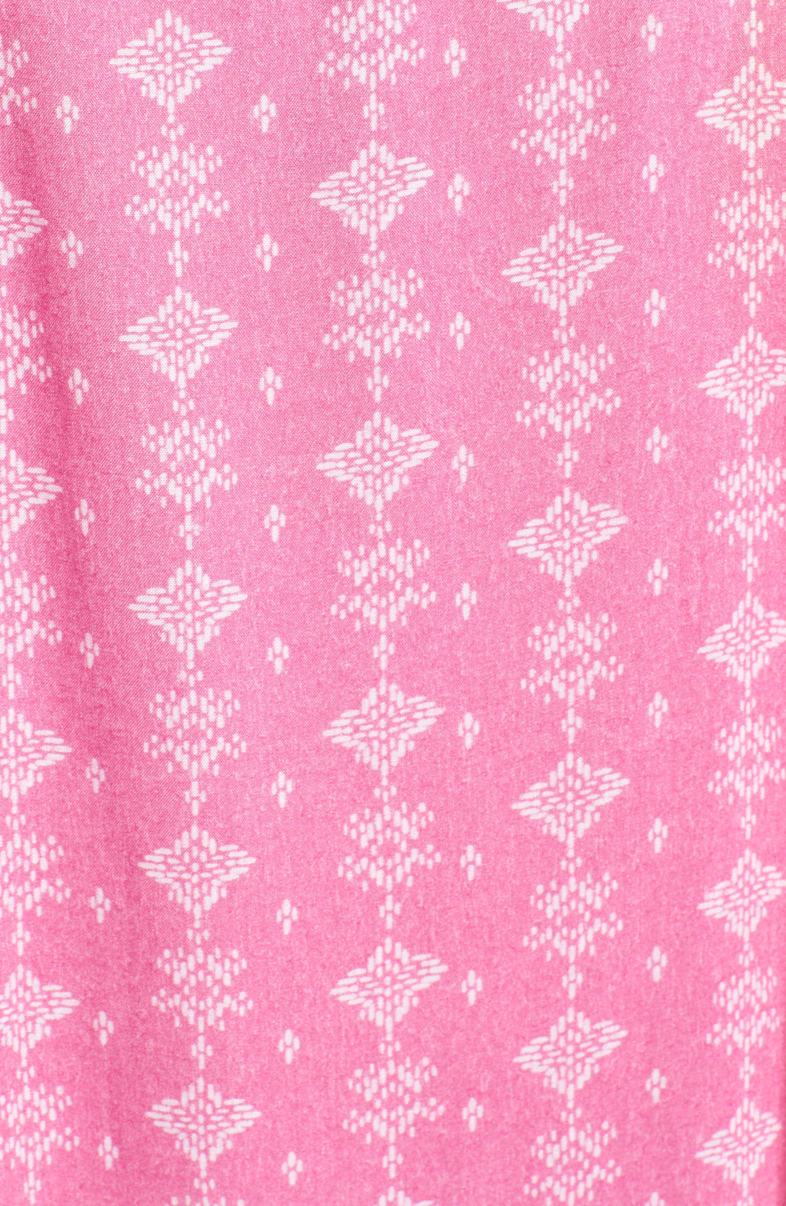 Caslon Batik Stamp Poncho,                             Alternate thumbnail 5, color,                             Pink Island Stamp Print