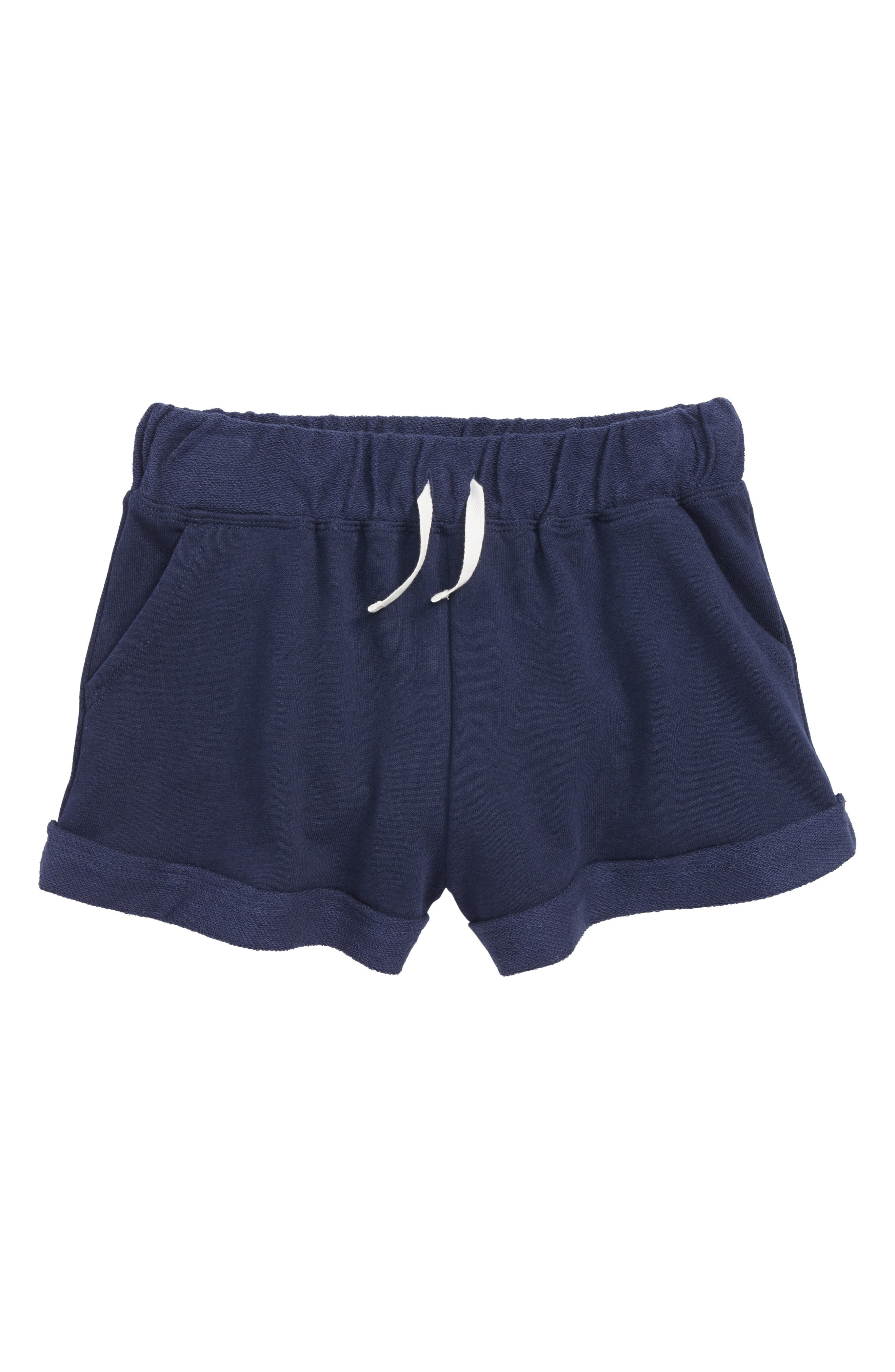 Cuff French Terry Shorts,                         Main,                         color, Navy