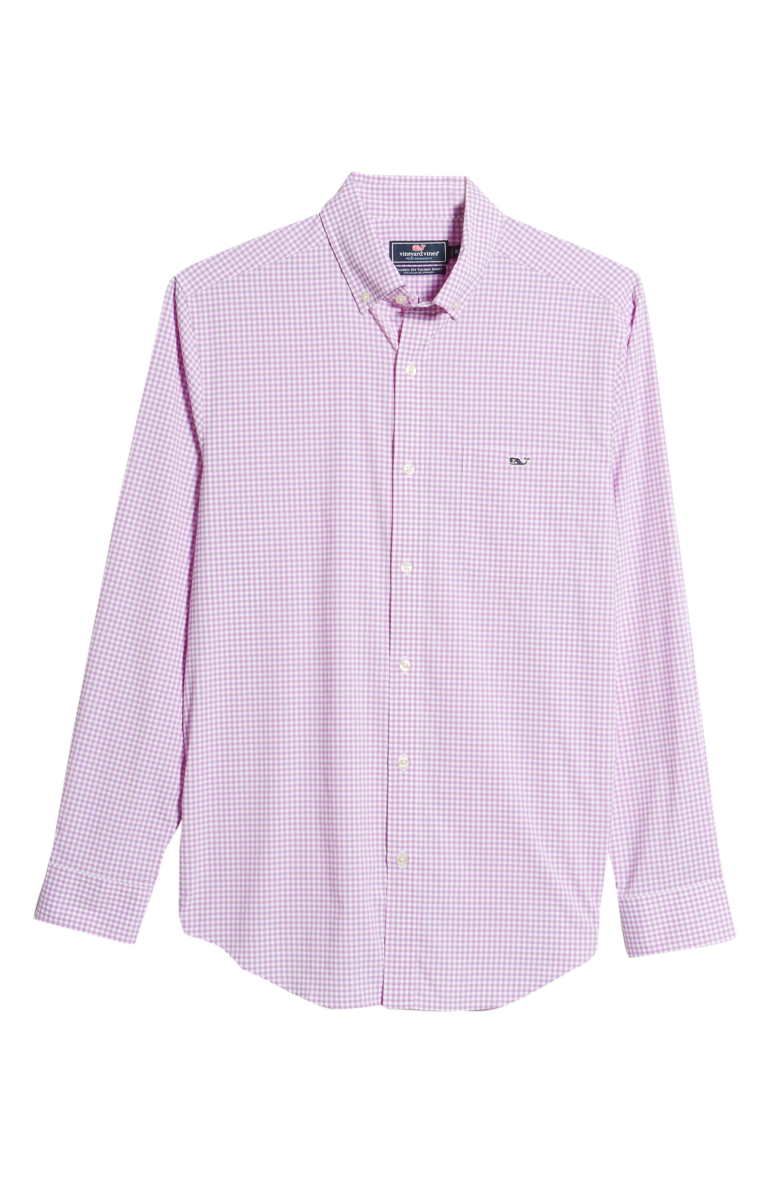 Grand Cay Tucker Regular Fit Gingham Performance Sport Shirt,                             Alternate thumbnail 6, color,                             Sea Urchin