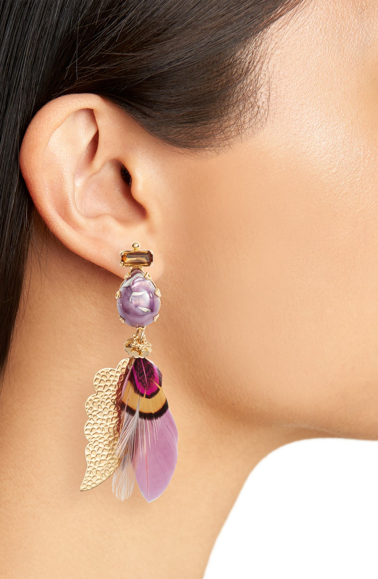 Irene Feather Drop Earrings,                             Alternate thumbnail 2, color,                             Pink/ Tige