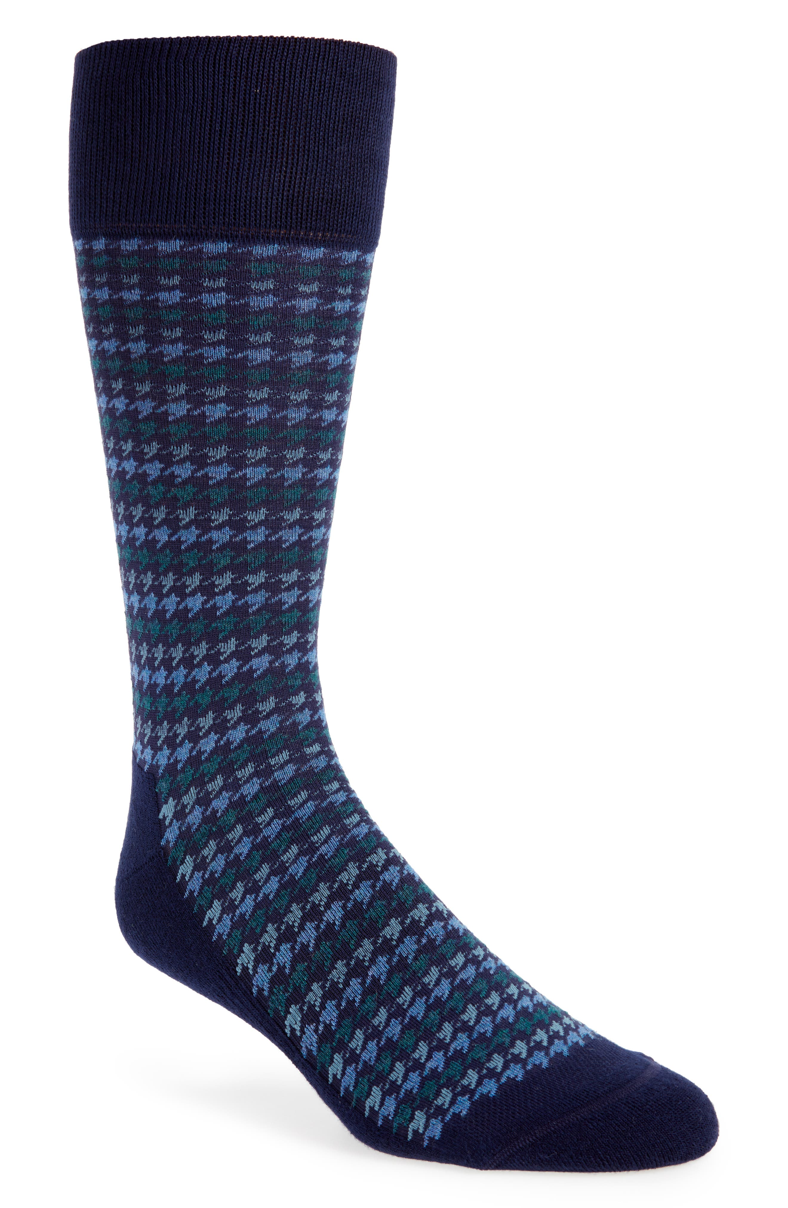 Houndstooth Stripe Socks,                         Main,                         color, Navy/ Blue