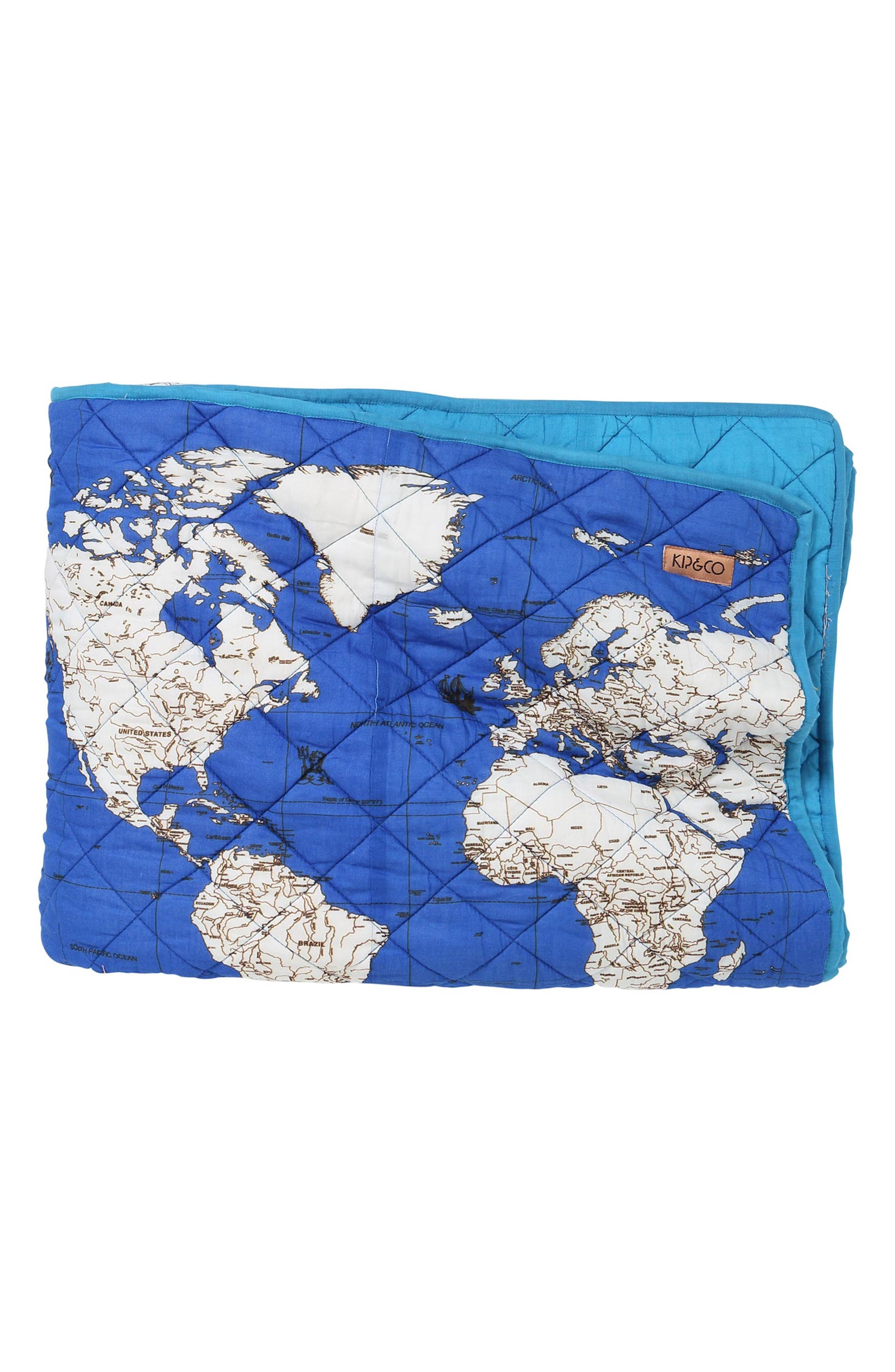 Globe Trotter Quilted Cotton Comforter,                             Main thumbnail 1, color,                             Multi