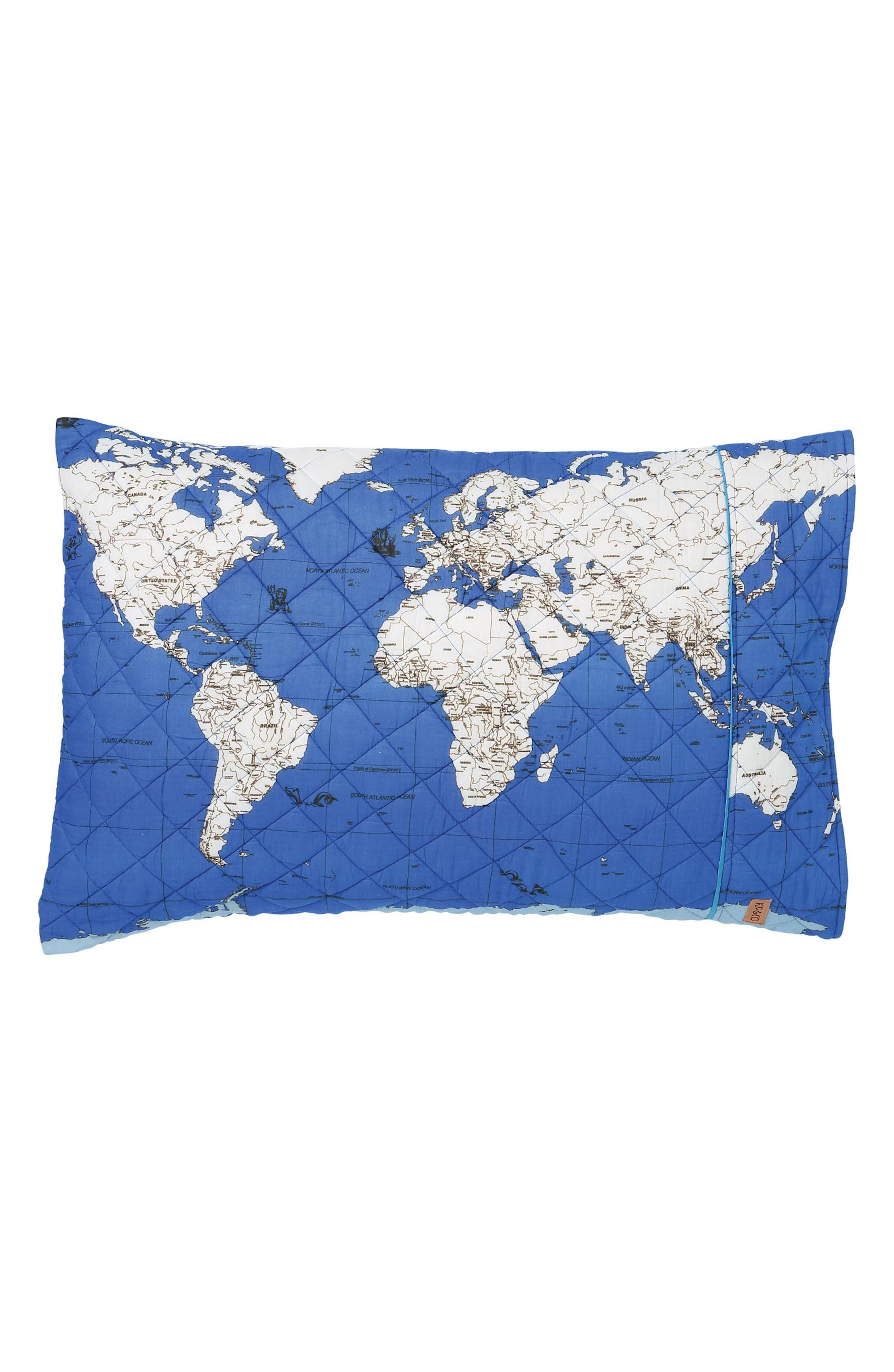 Globe Trotter Quilted Cotton Pillowcase,                         Main,                         color, Multi