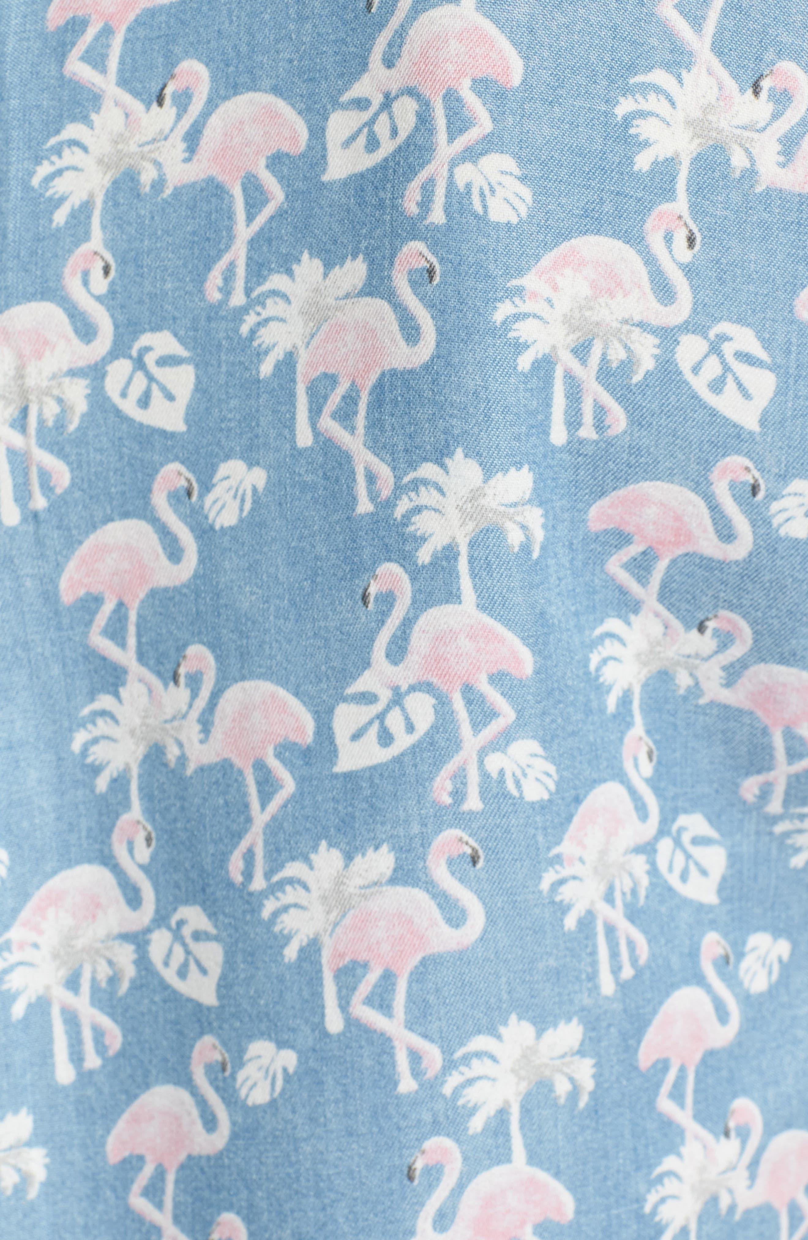 Flamingo Lace-Up Back Popover Top,                             Alternate thumbnail 5, color,                             Blue Flamingo
