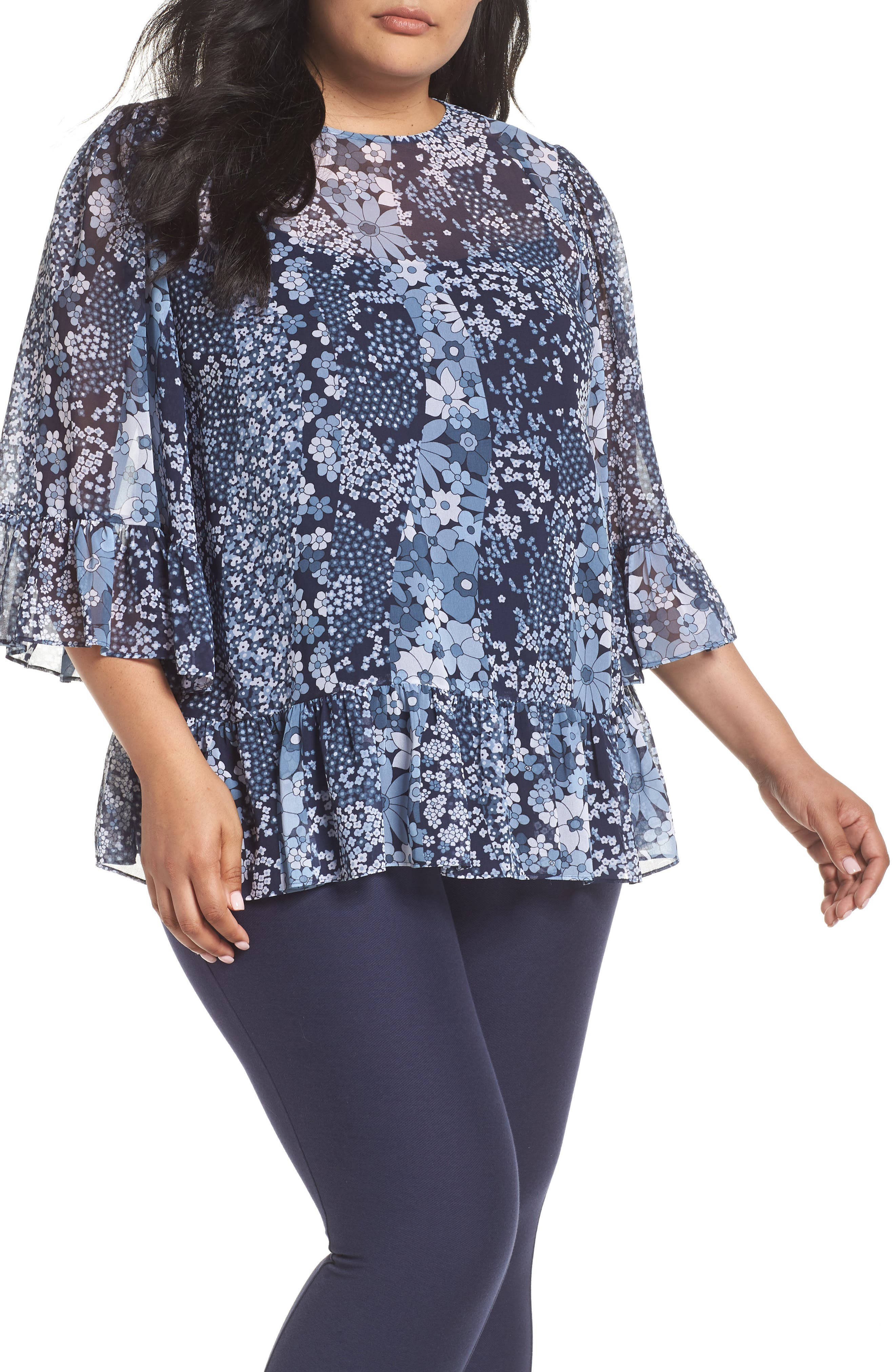 Patchwork Flowers Top,                         Main,                         color, True Navy/ Light Chambray