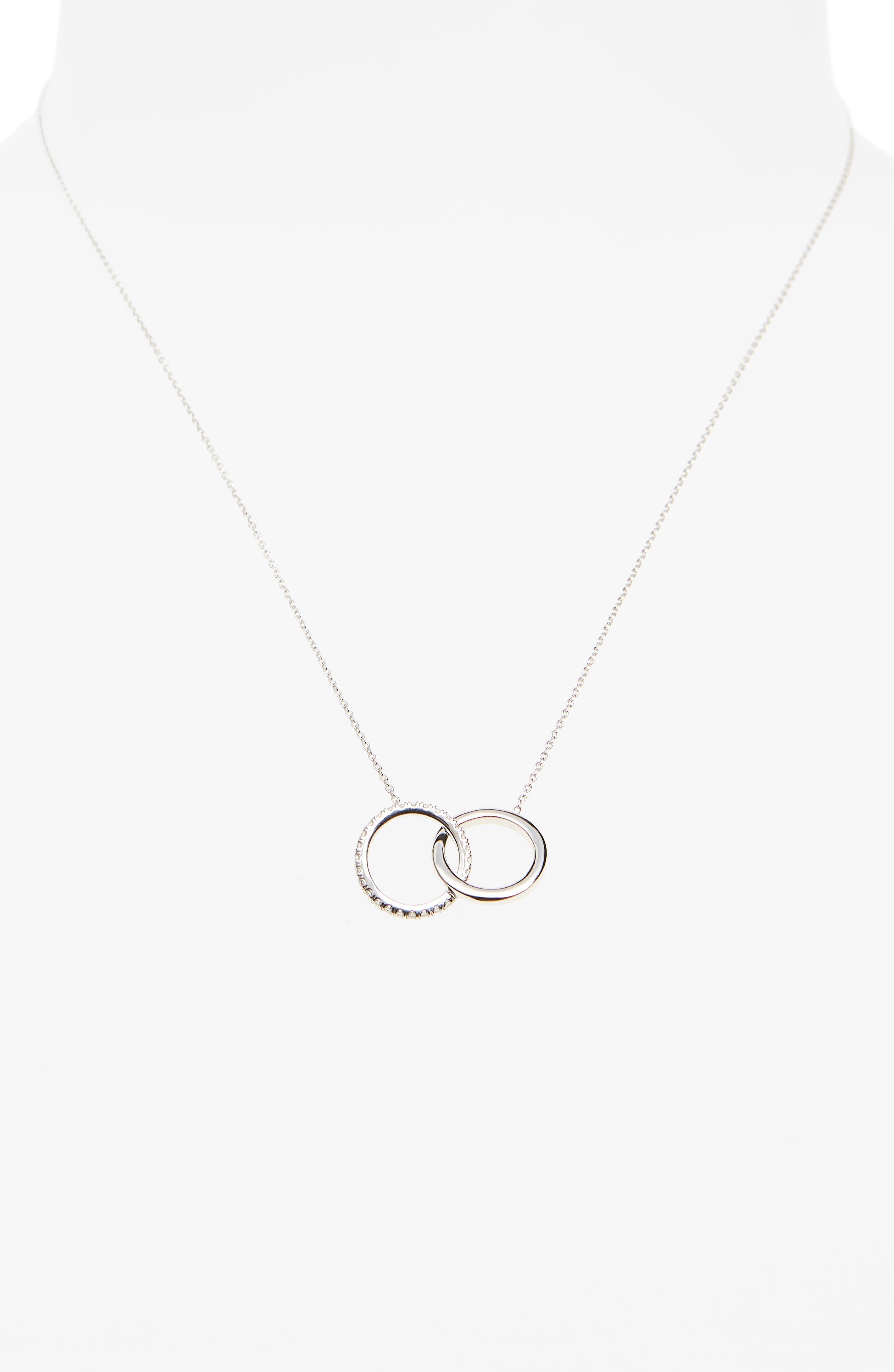 Diamond Double Circle Pendant Necklace,                             Alternate thumbnail 2, color,                             White Gold