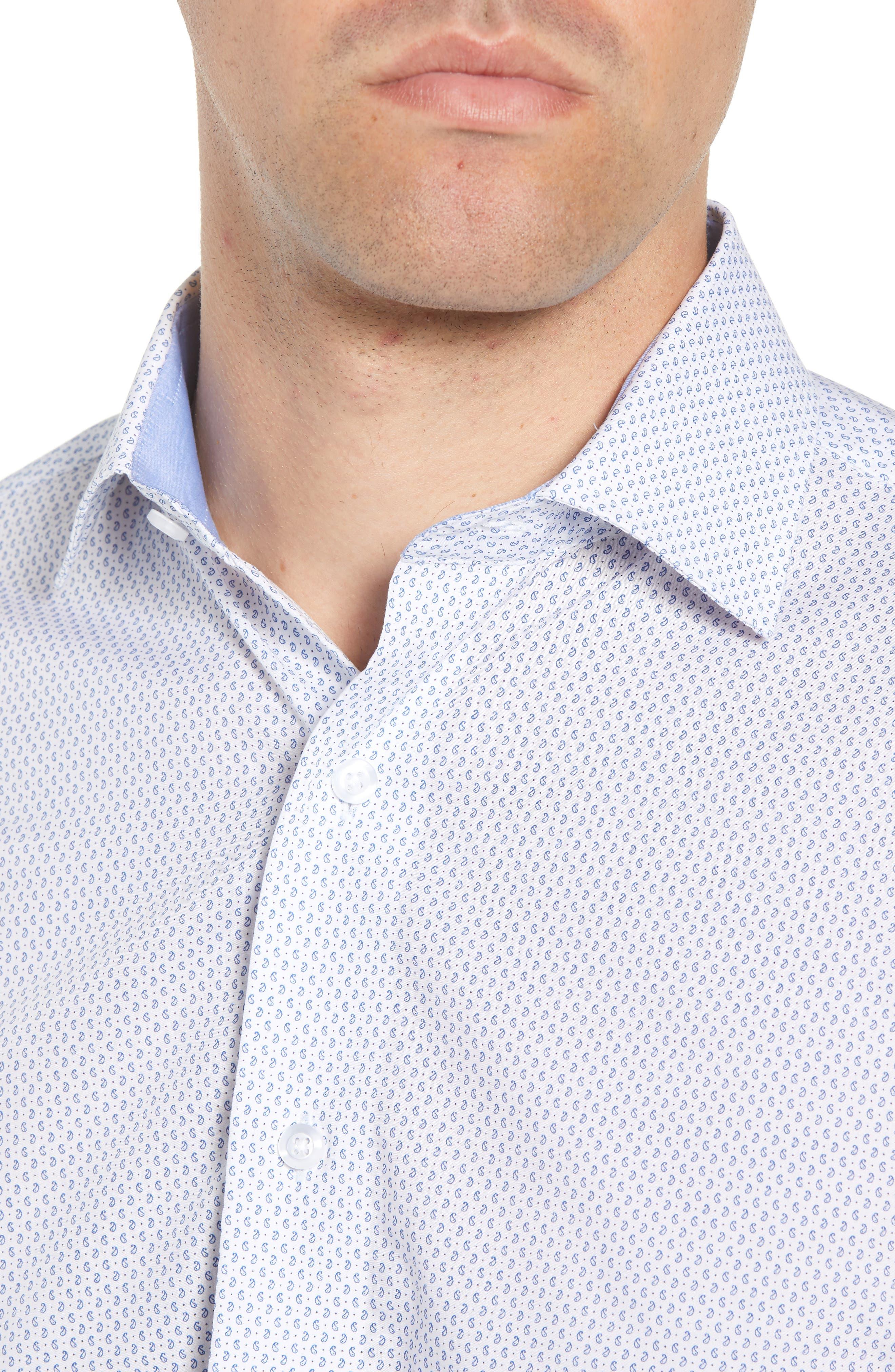 Trim Fit Paisley Dress Shirt,                             Alternate thumbnail 2, color,                             White/ Blue