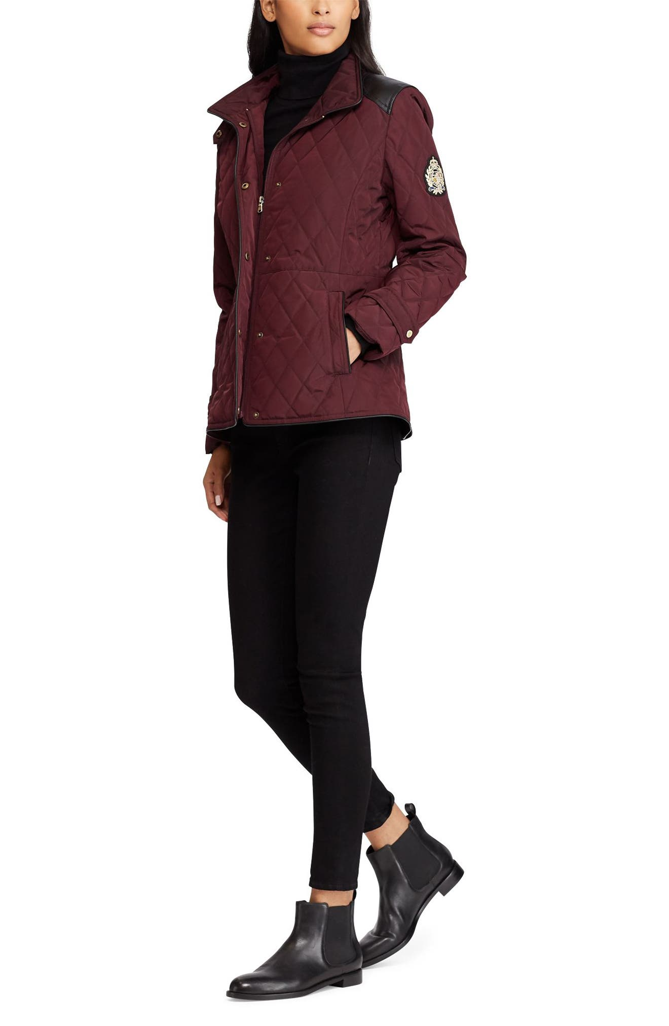 Quilted Faux Leather Trim Jacket,                             Alternate thumbnail 3, color,                             Burgundy