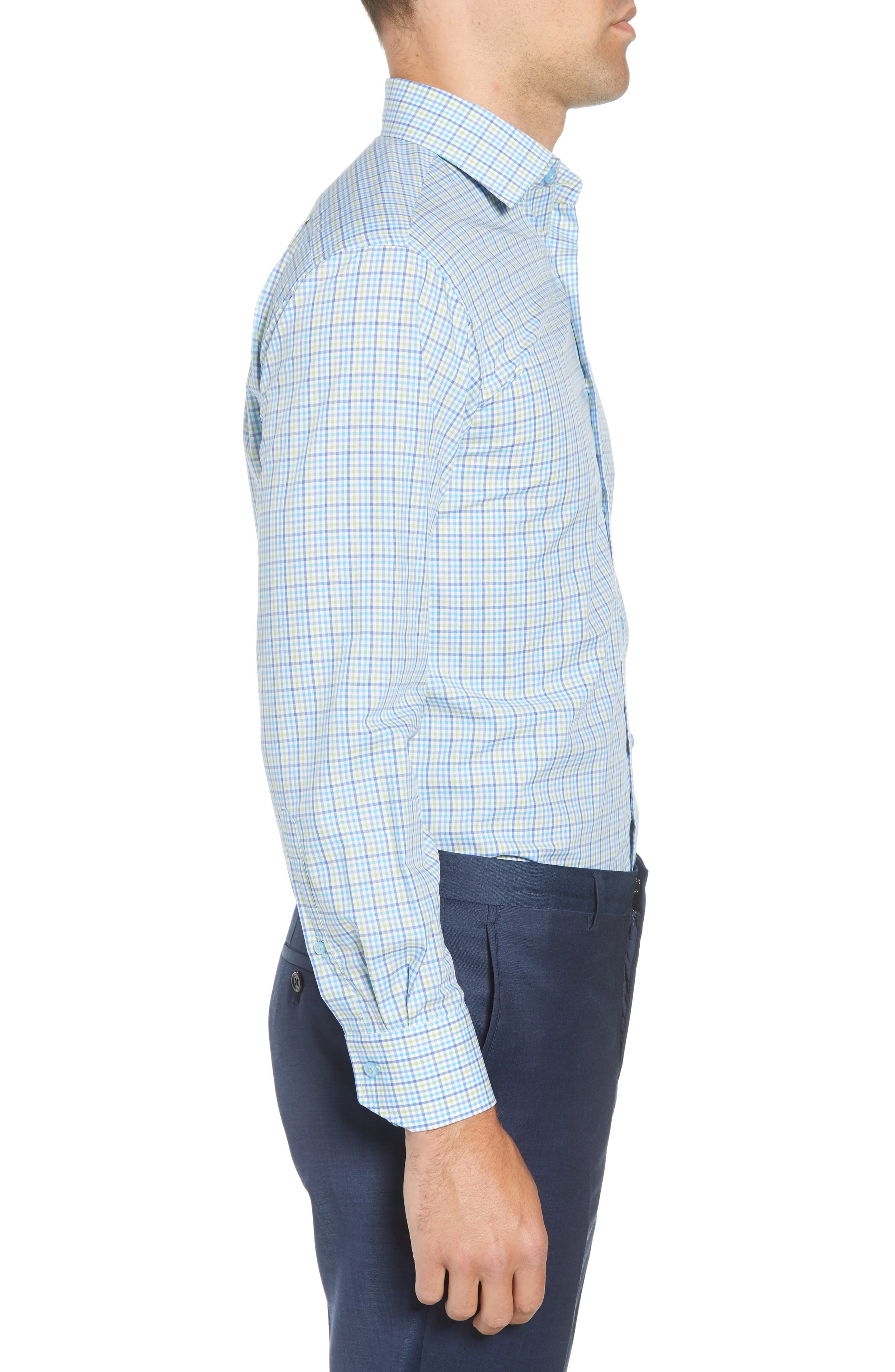 Trim Fit Check Dress Shirt,                             Alternate thumbnail 4, color,                             Blue/ Green