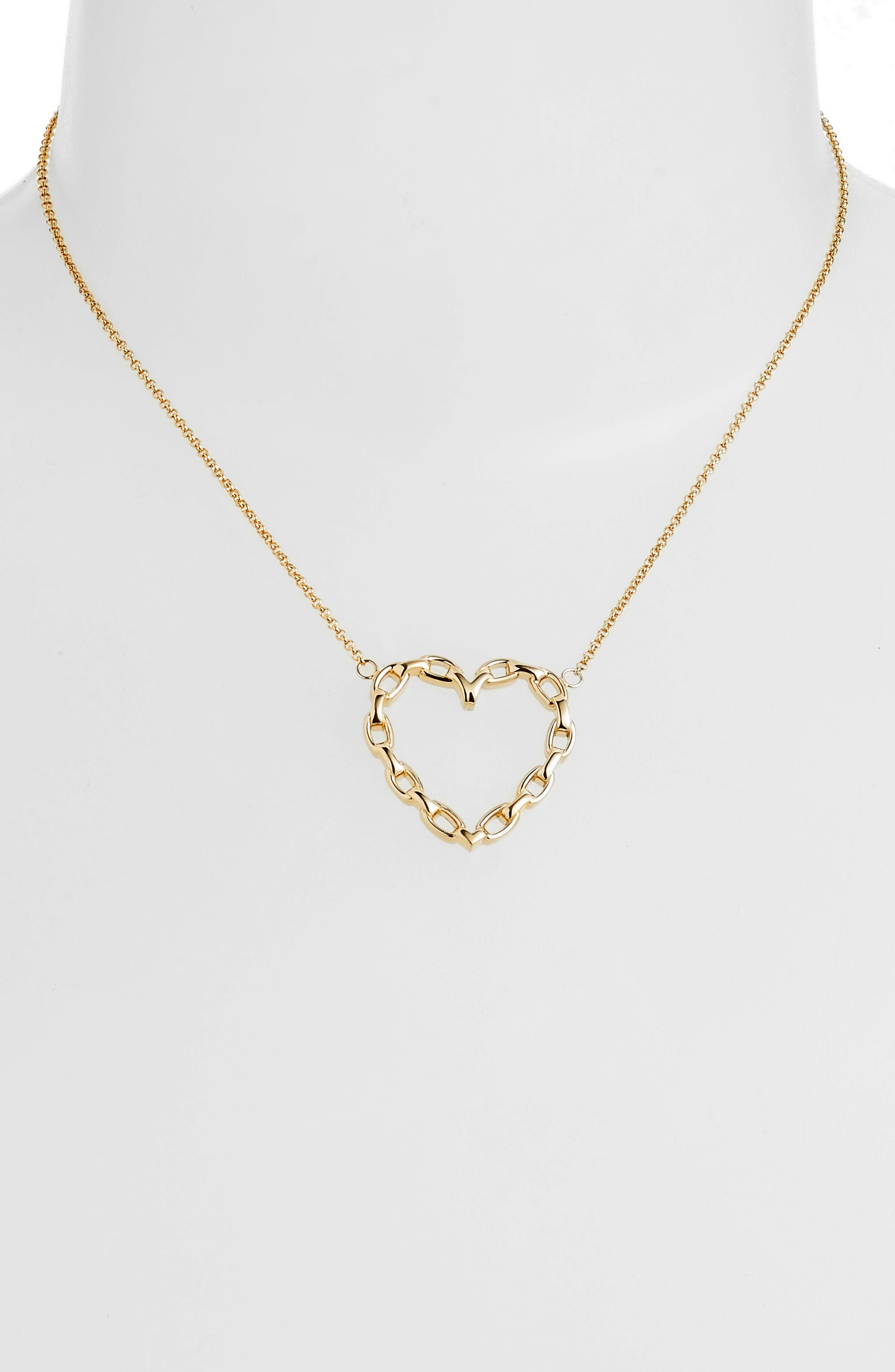 Fawn Link Heart Necklace,                             Alternate thumbnail 2, color,                             Yellow Vermeil