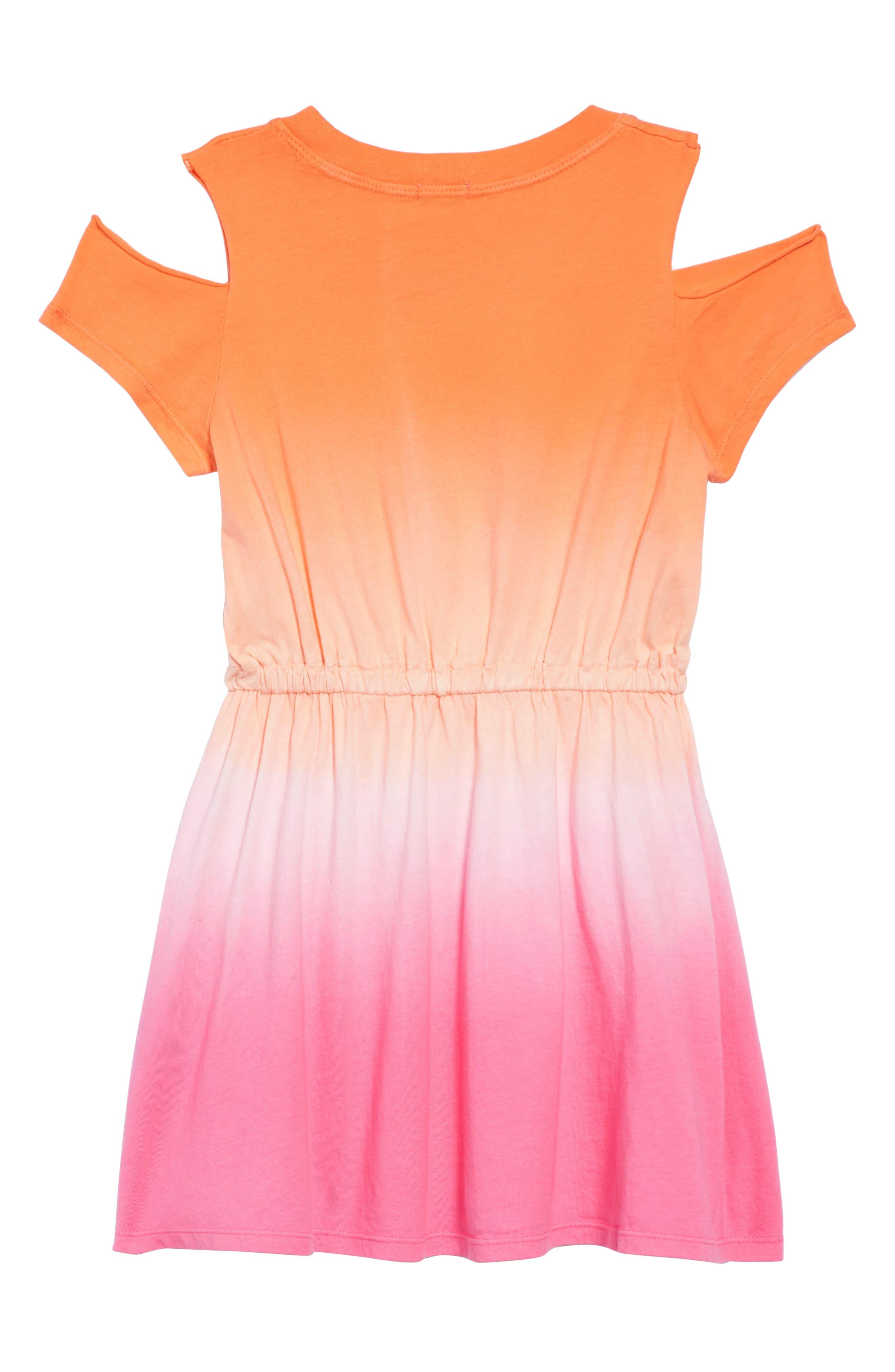 Dip Dye Cold Shoulder Dress,                             Alternate thumbnail 2, color,                             Desert Flower