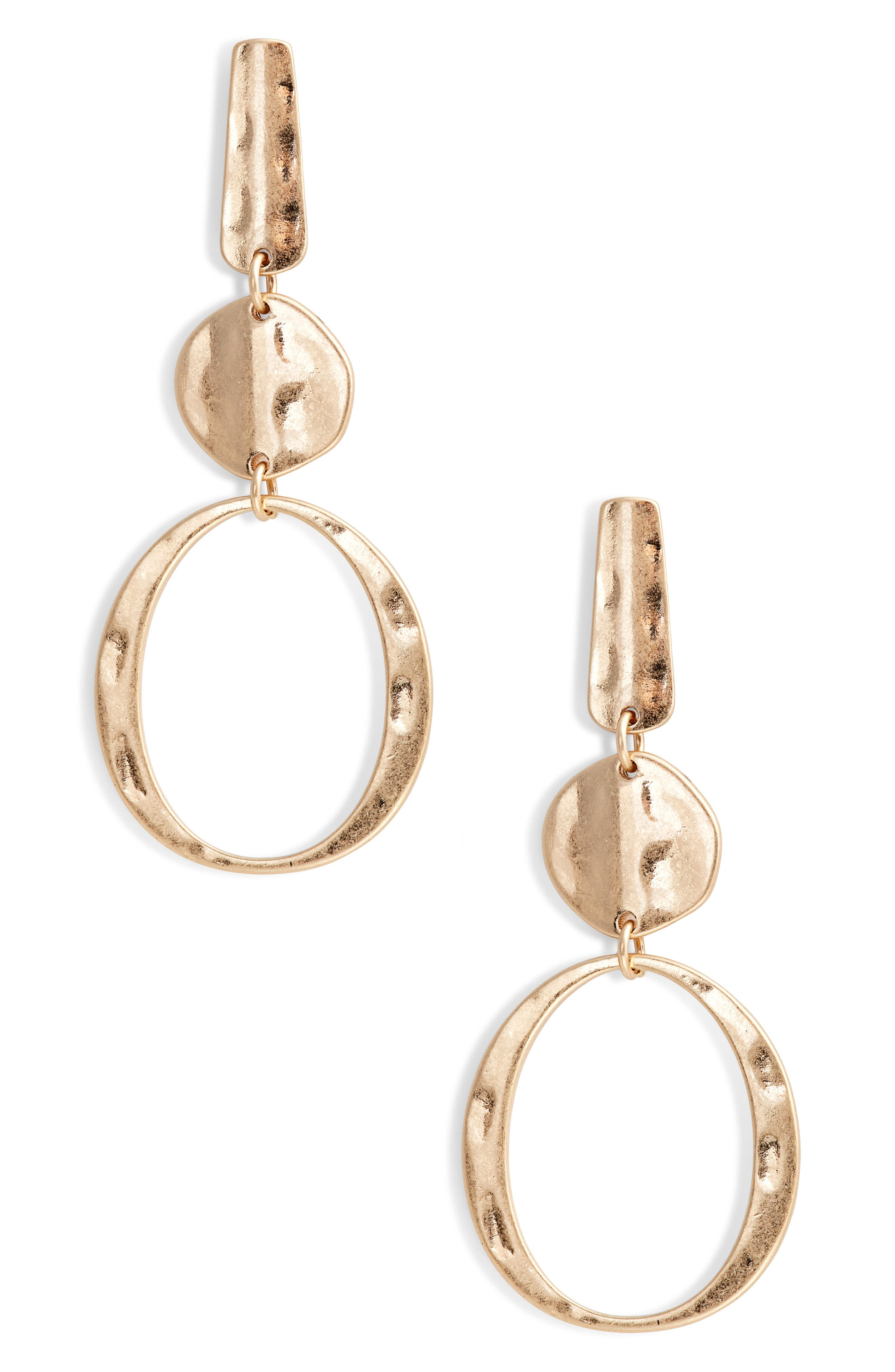 Hammered Geometric Drop Earrings,                         Main,                         color, Gold