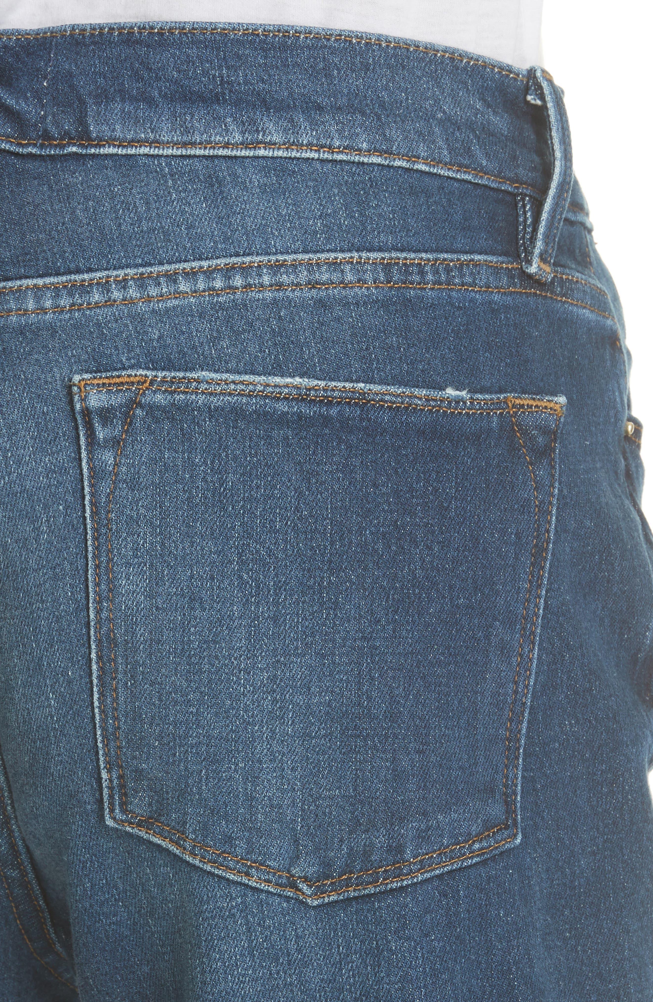 Le High Straight Asymmetrical Hem Jeans,                             Alternate thumbnail 4, color,                             Kingsway
