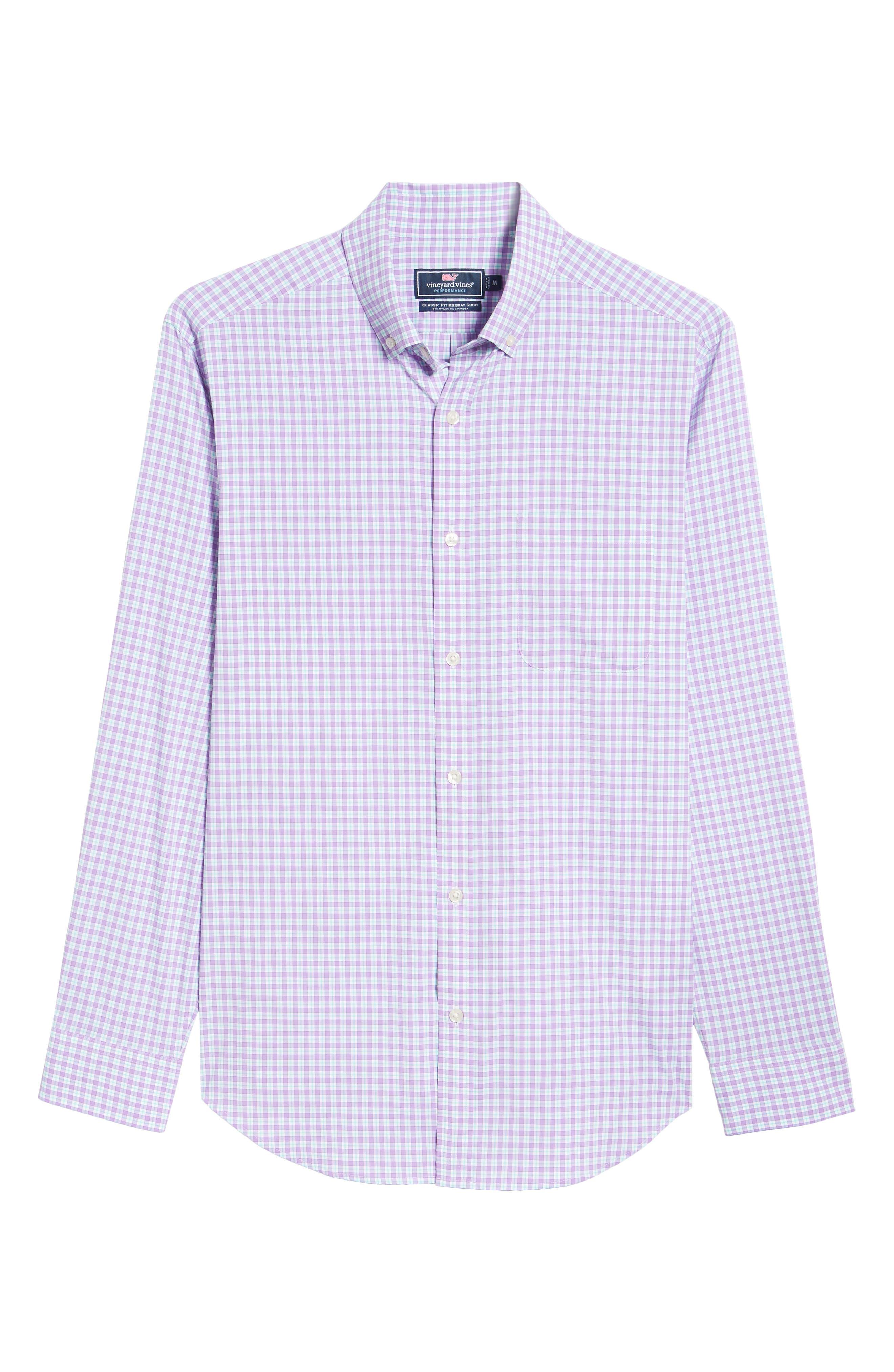 Oyster Pond Slim Fit Plaid Sport Shirt,                             Alternate thumbnail 6, color,                             Sea Urchin