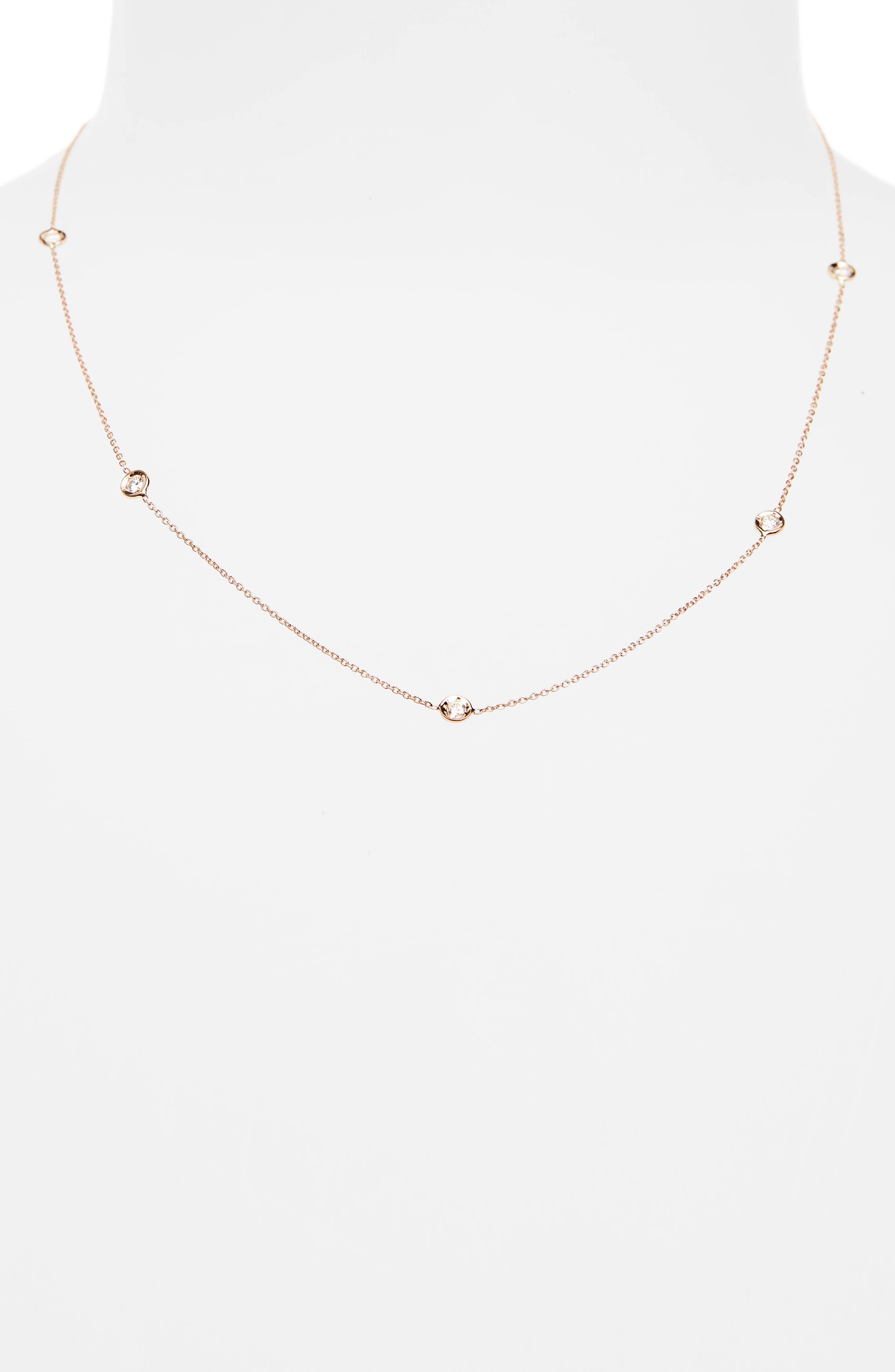 4-Station Diamond Necklace,                             Alternate thumbnail 2, color,                             Rose Gold