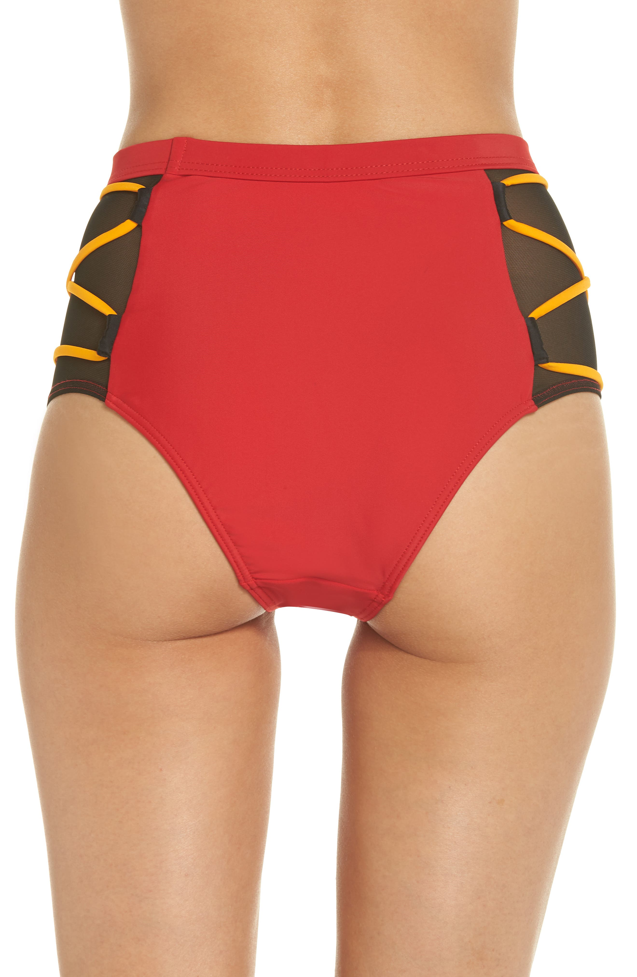 Launch Bikini Bottoms,                             Alternate thumbnail 2, color,                             Red/ Black/ Orange
